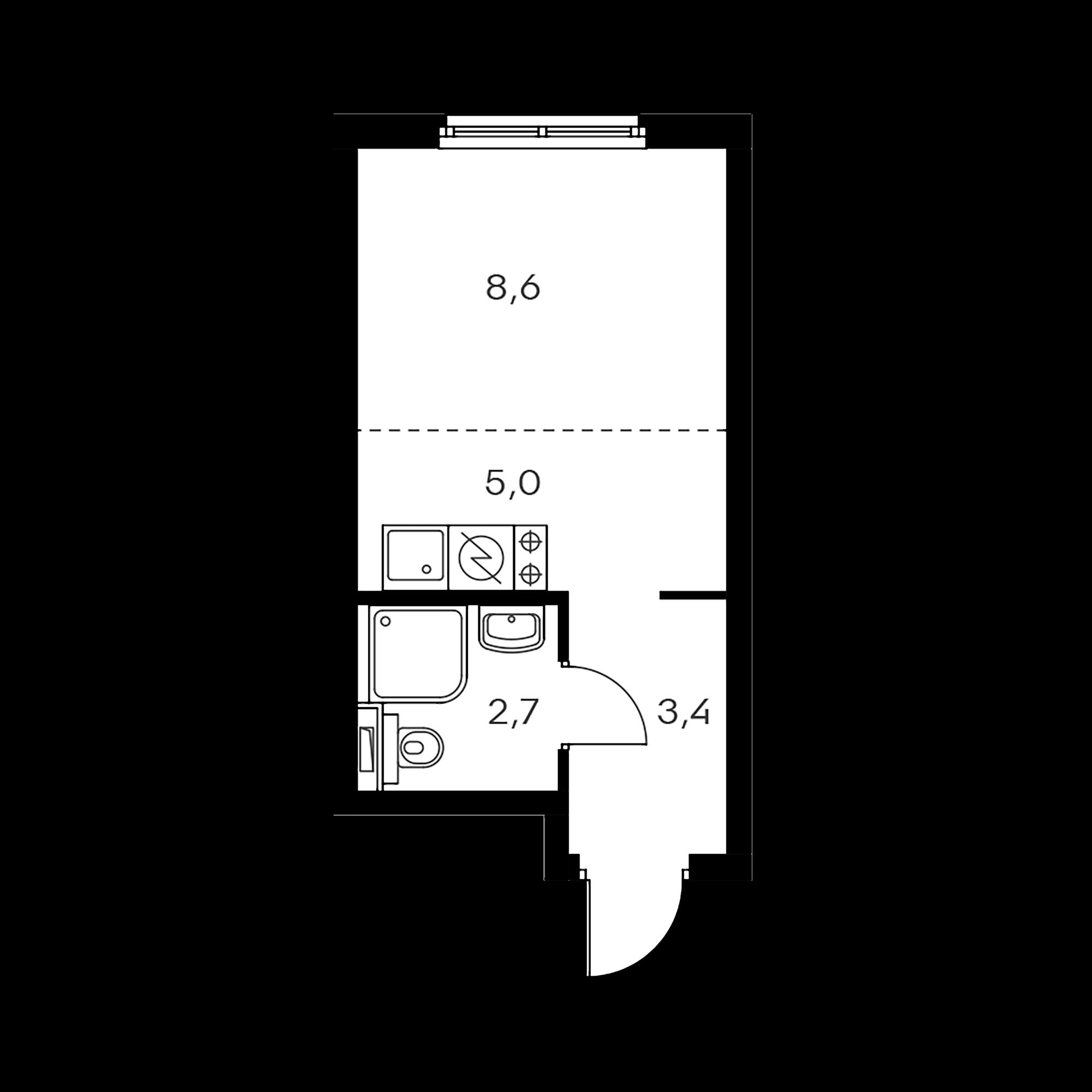 Студия 19.7  м²
