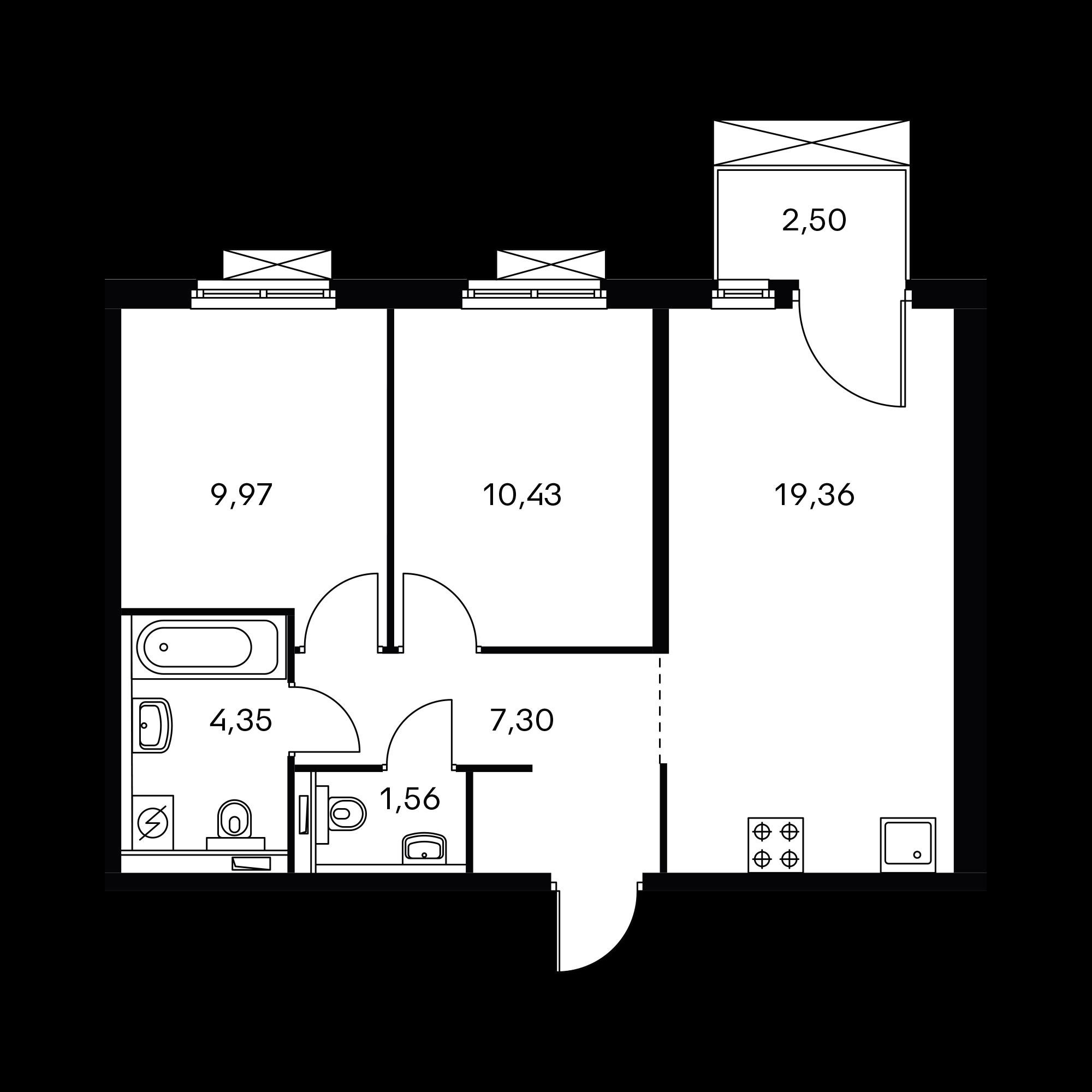2-комнатная 53.72  м²