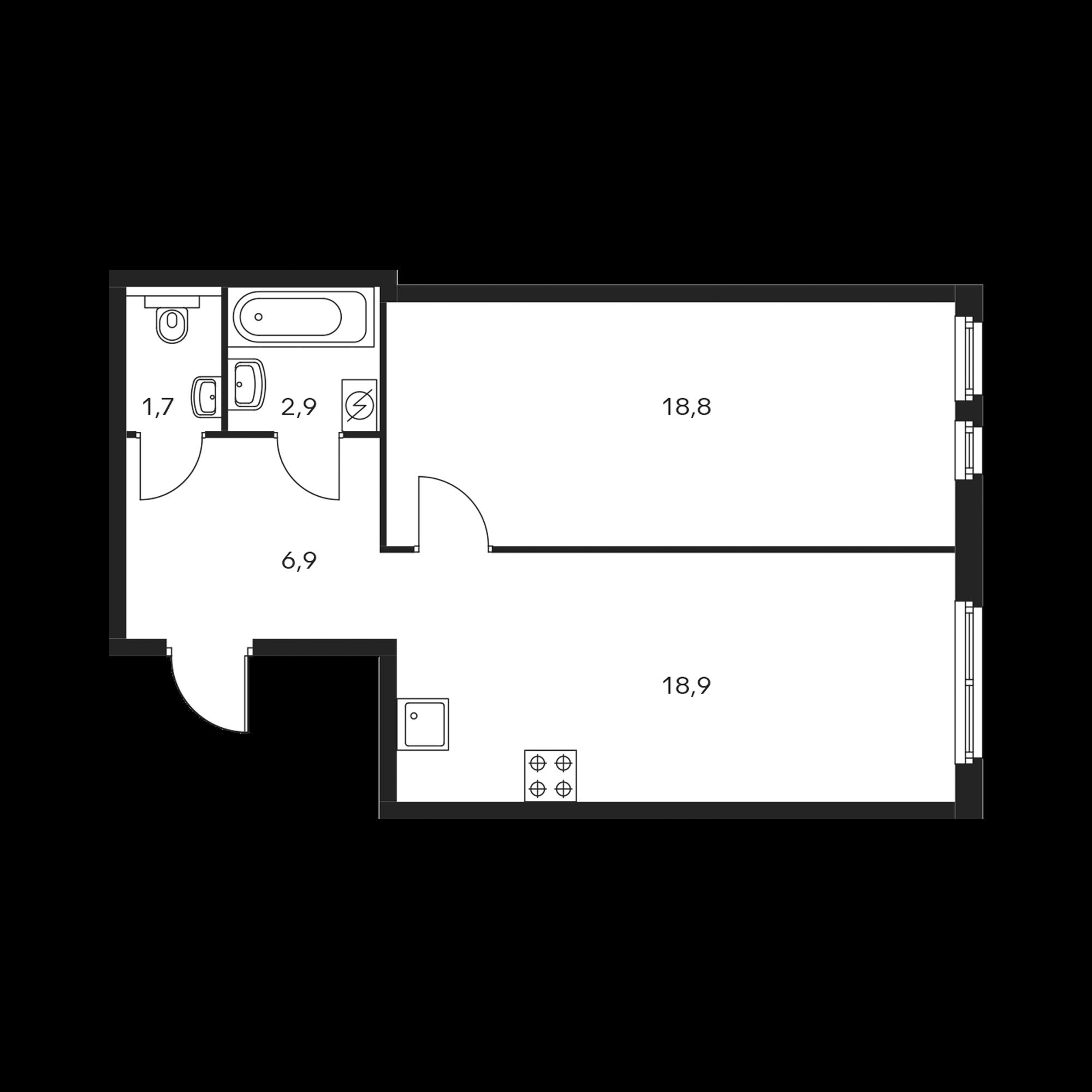 1-комнатная 49 м²