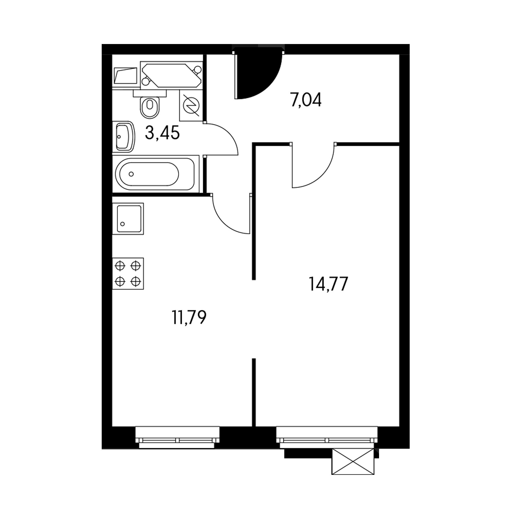 1-комнатная 36.9 м²