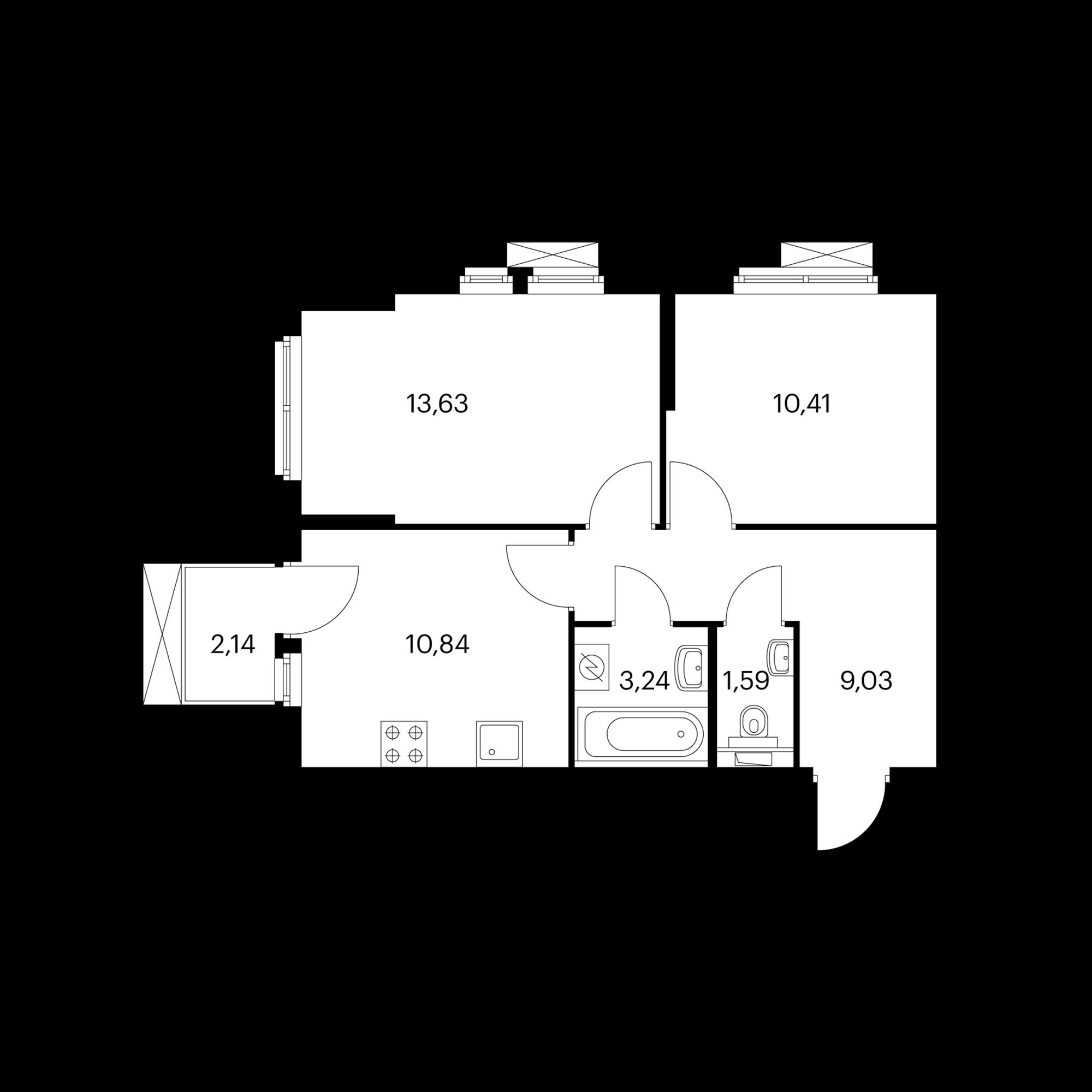 2-комнатная 49.38 м²