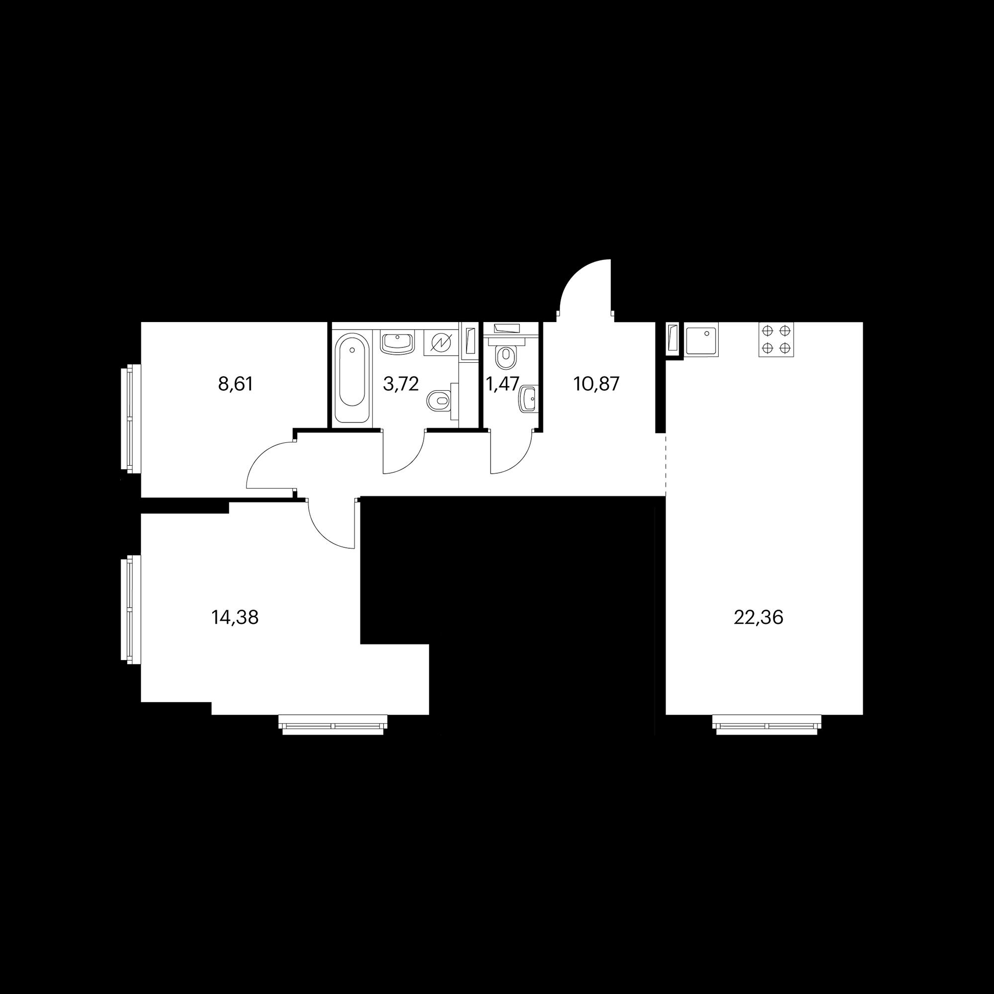 2-комнатная 61.41 м²
