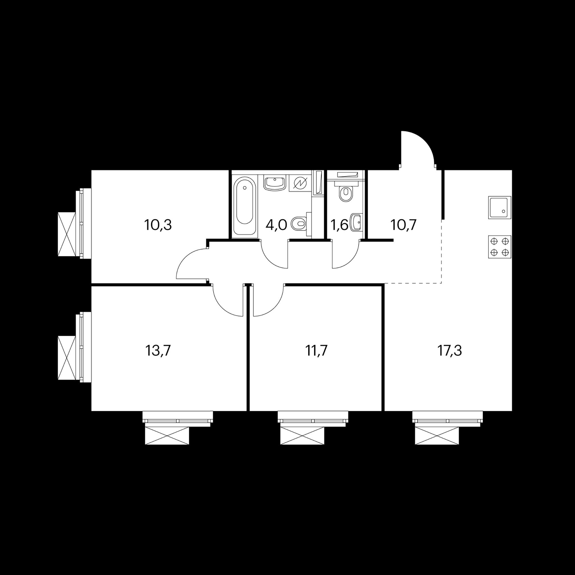 3-комнатная 69.1  м²