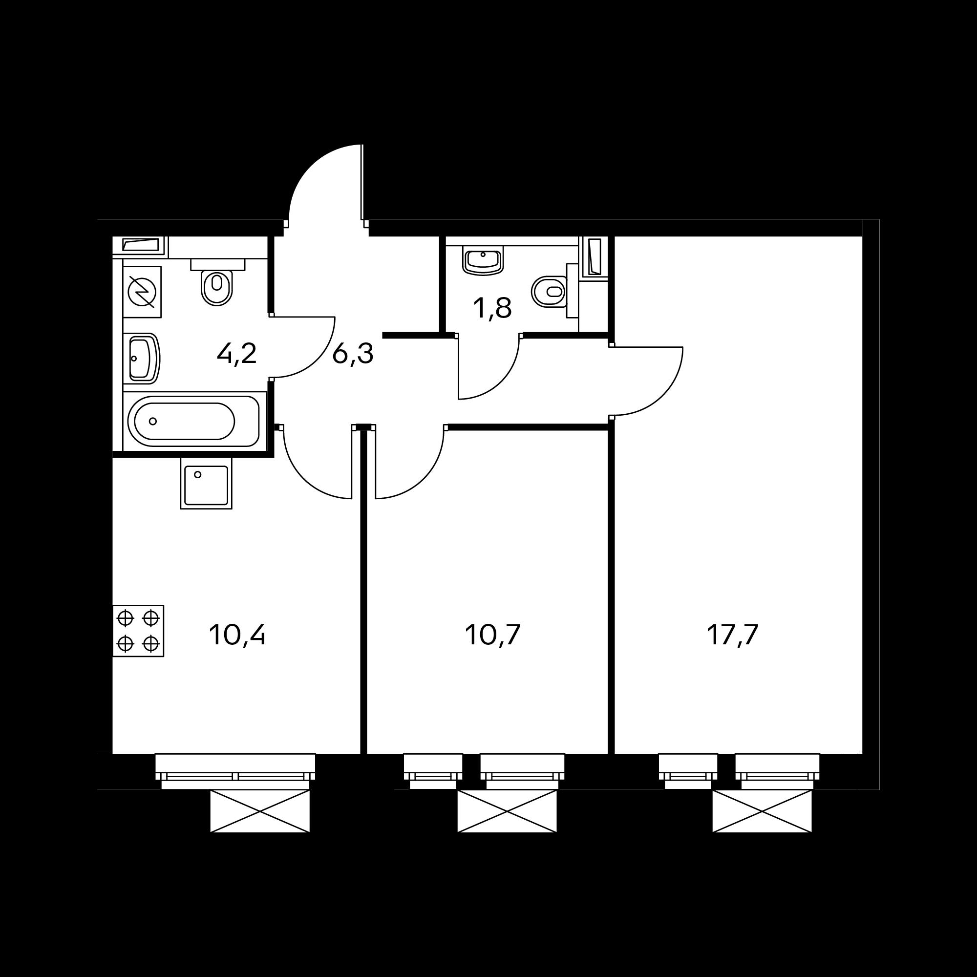 2-комнатная 51.1  м²