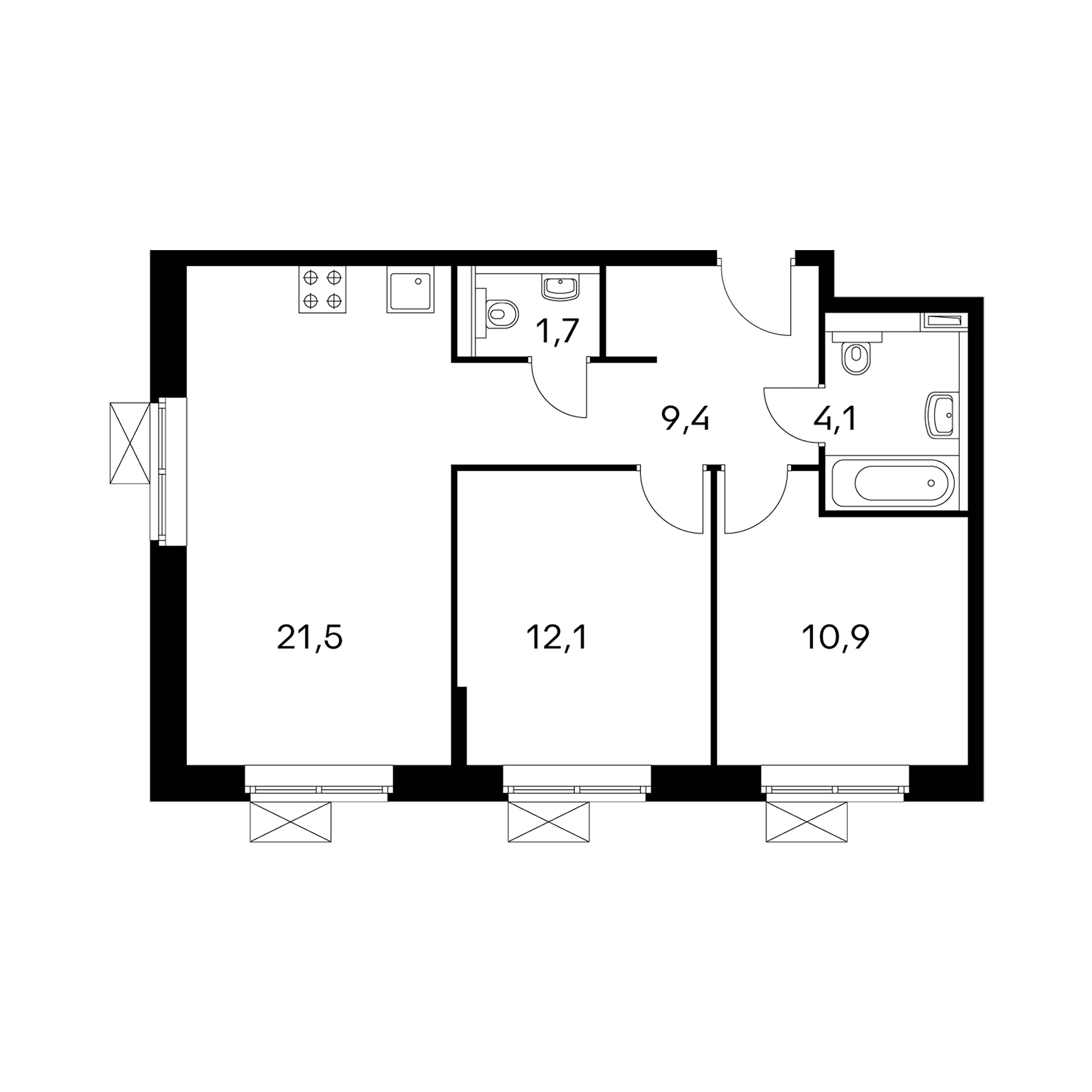 2-комнатные 59.7  м²