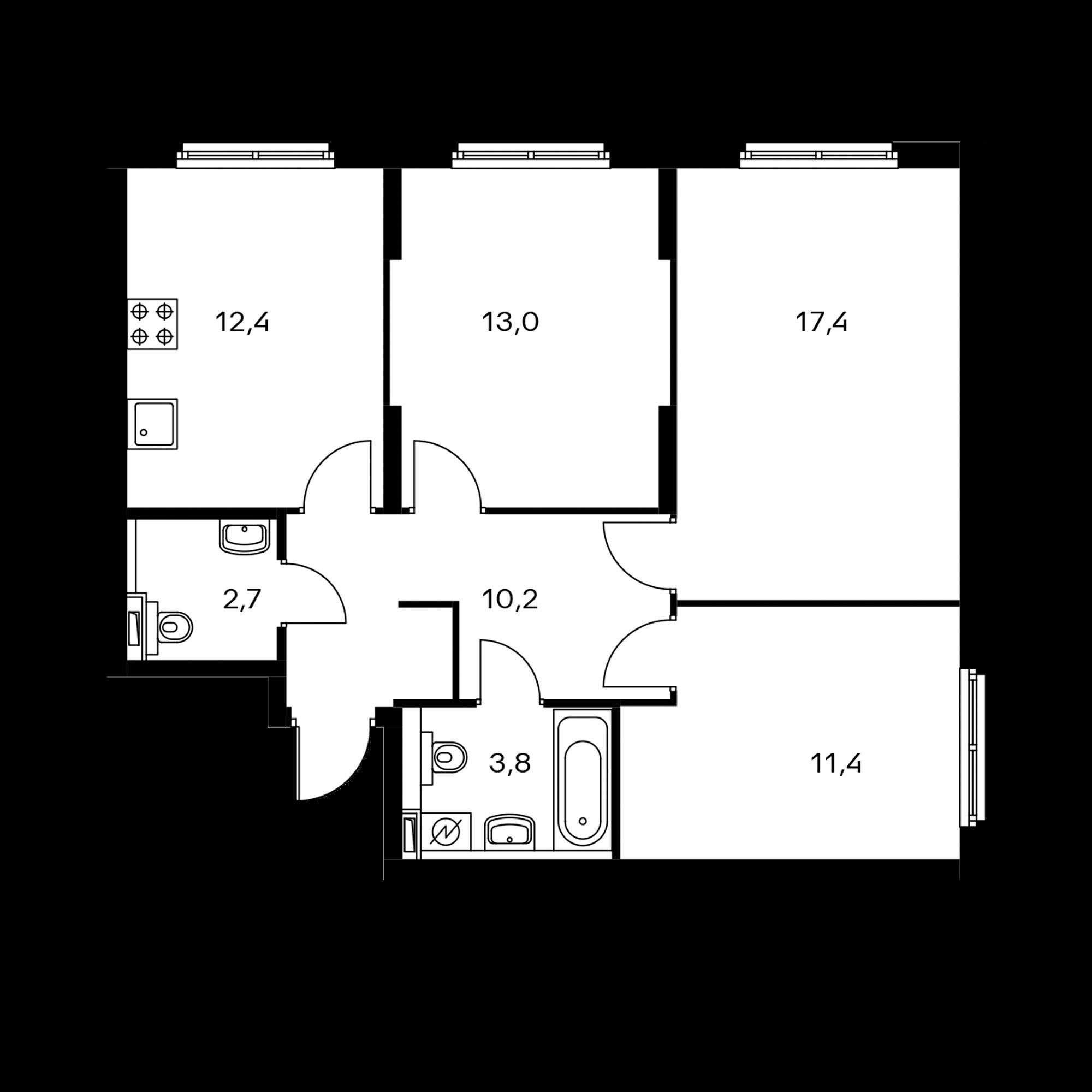 3-комнатная 70.9  м²
