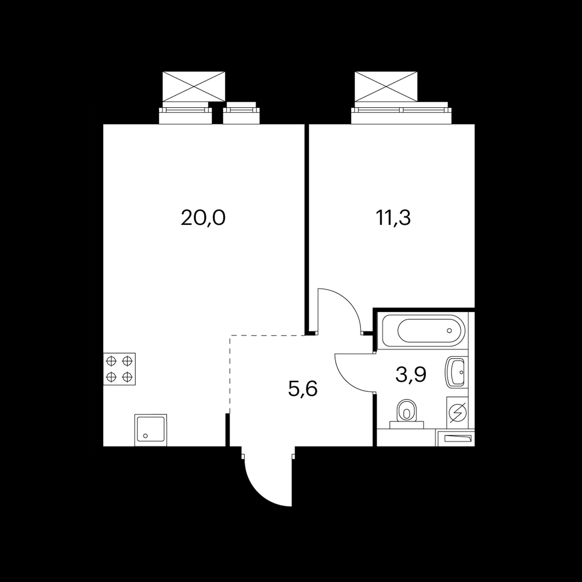 1-комнатная 40.8  м²