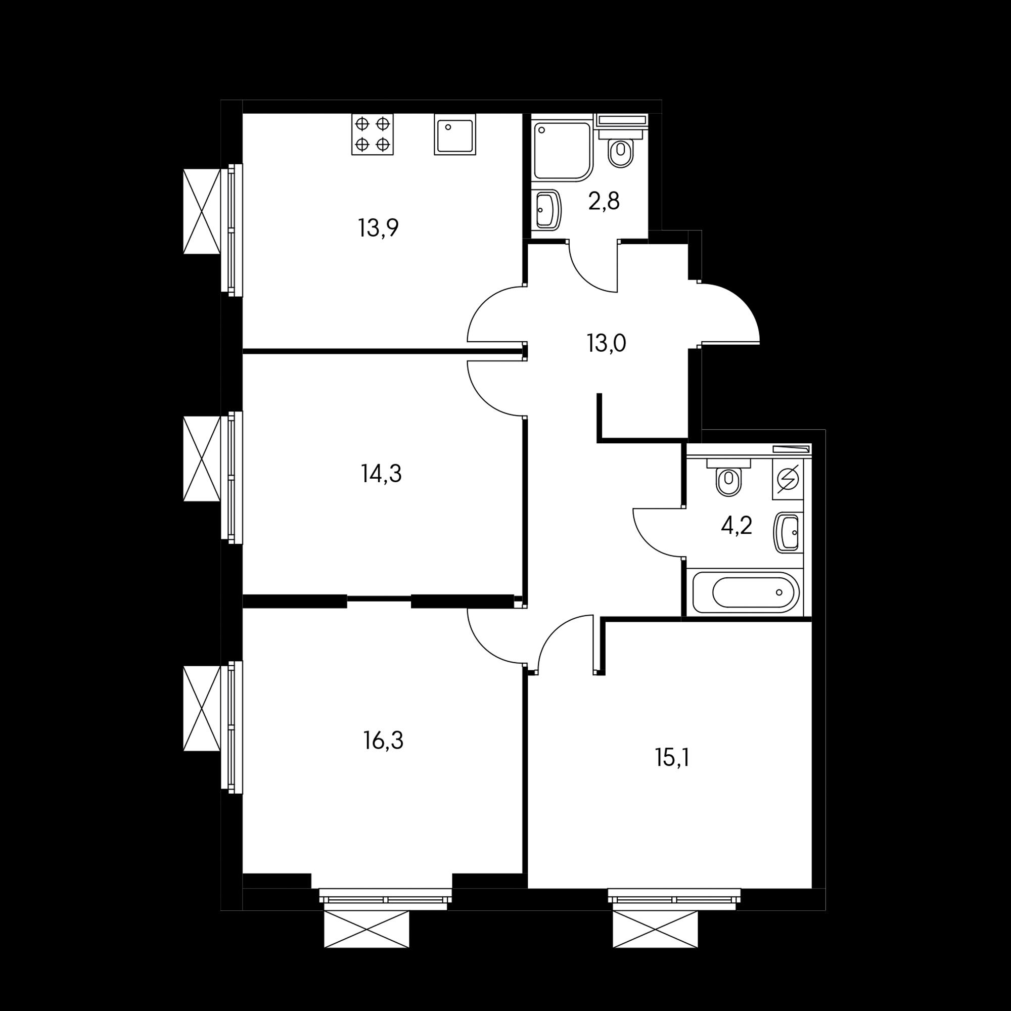 3-комнатная 79.5  м²