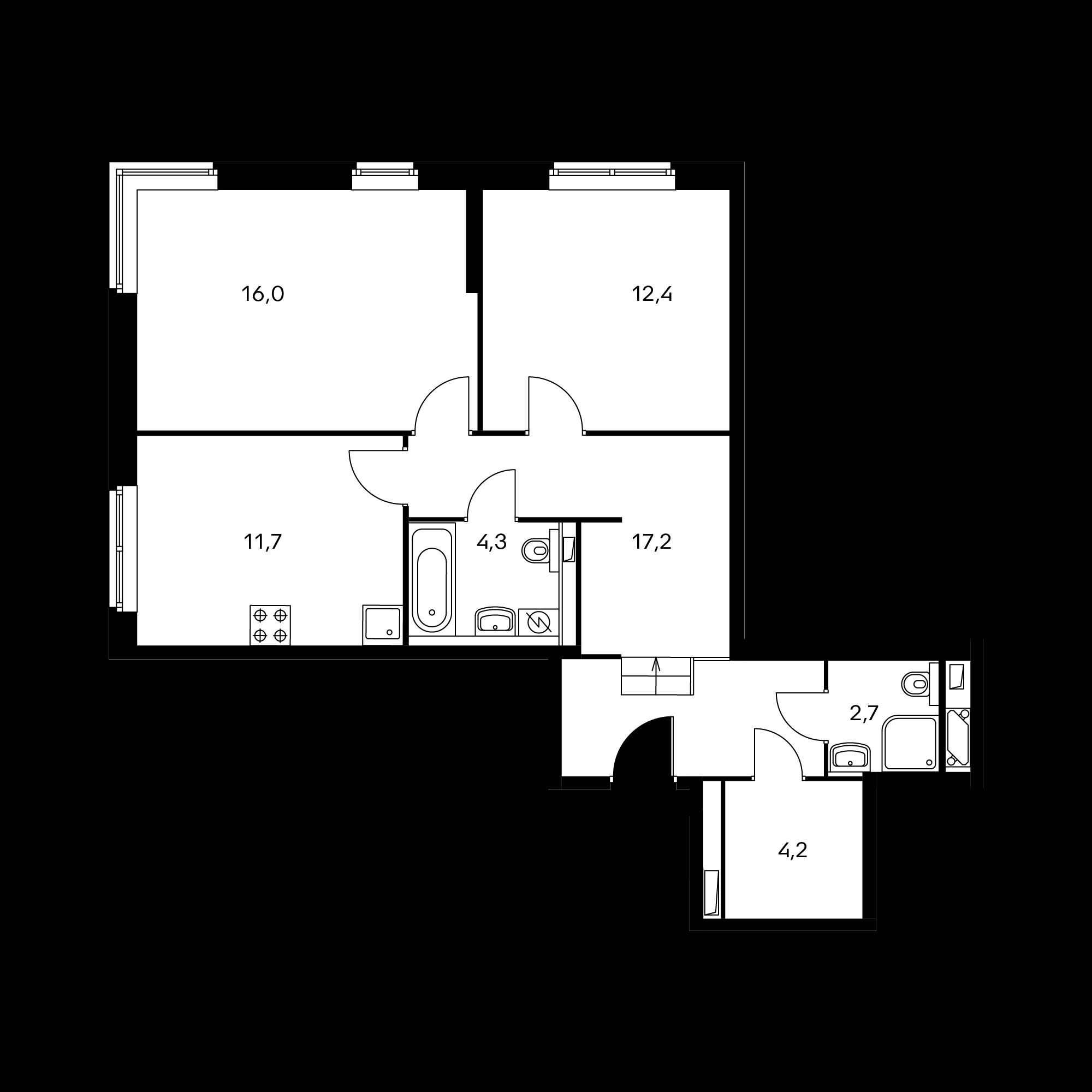 2-комнатная 68.5 м²