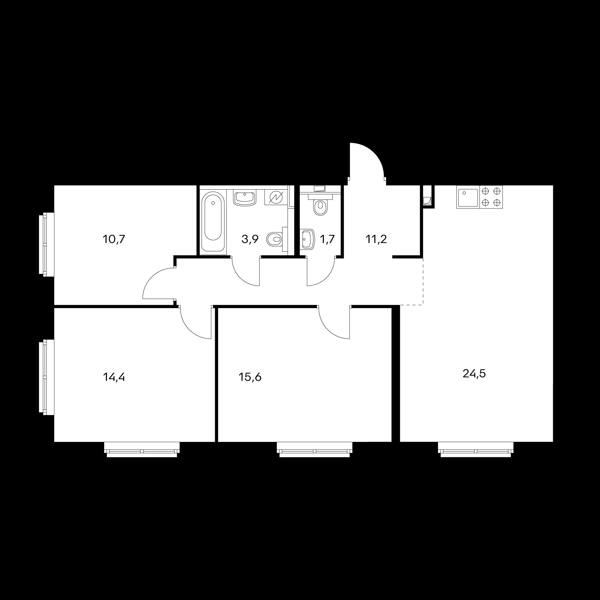 3-комнатная 82 м²