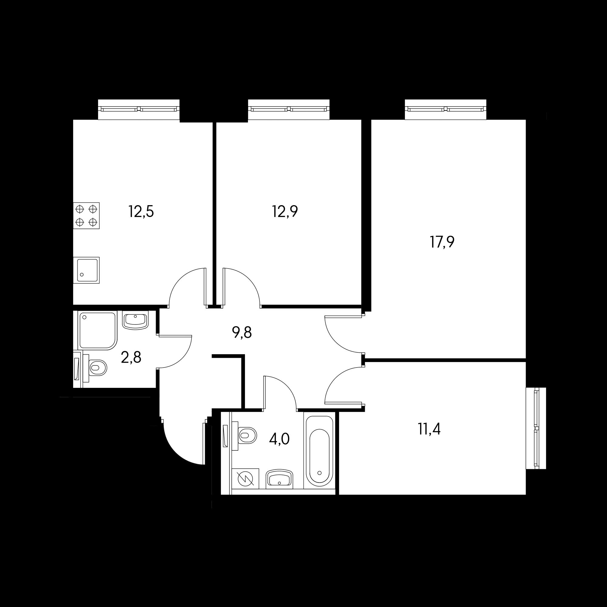 3-комнатная 70.3 м²