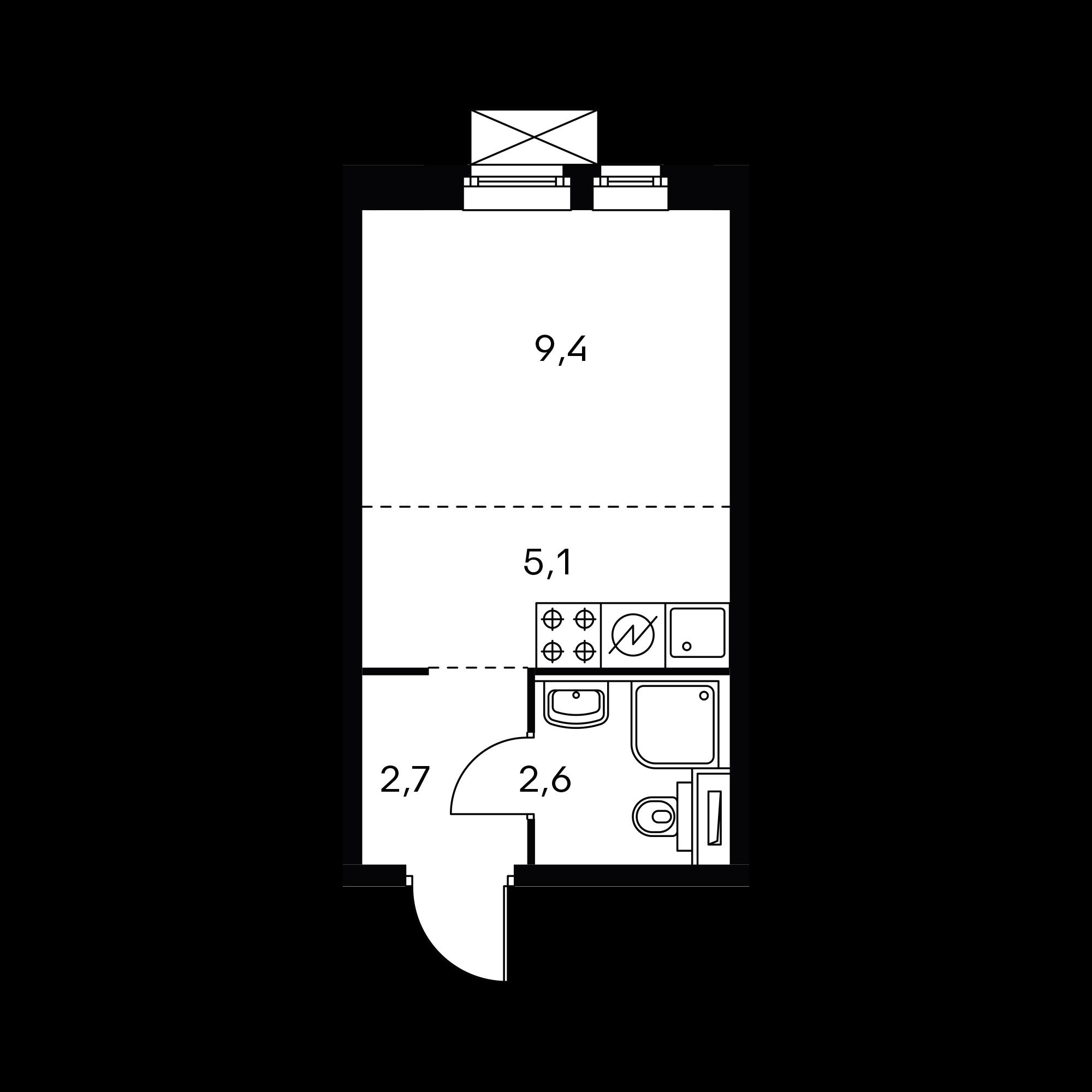 Студия 20  м²