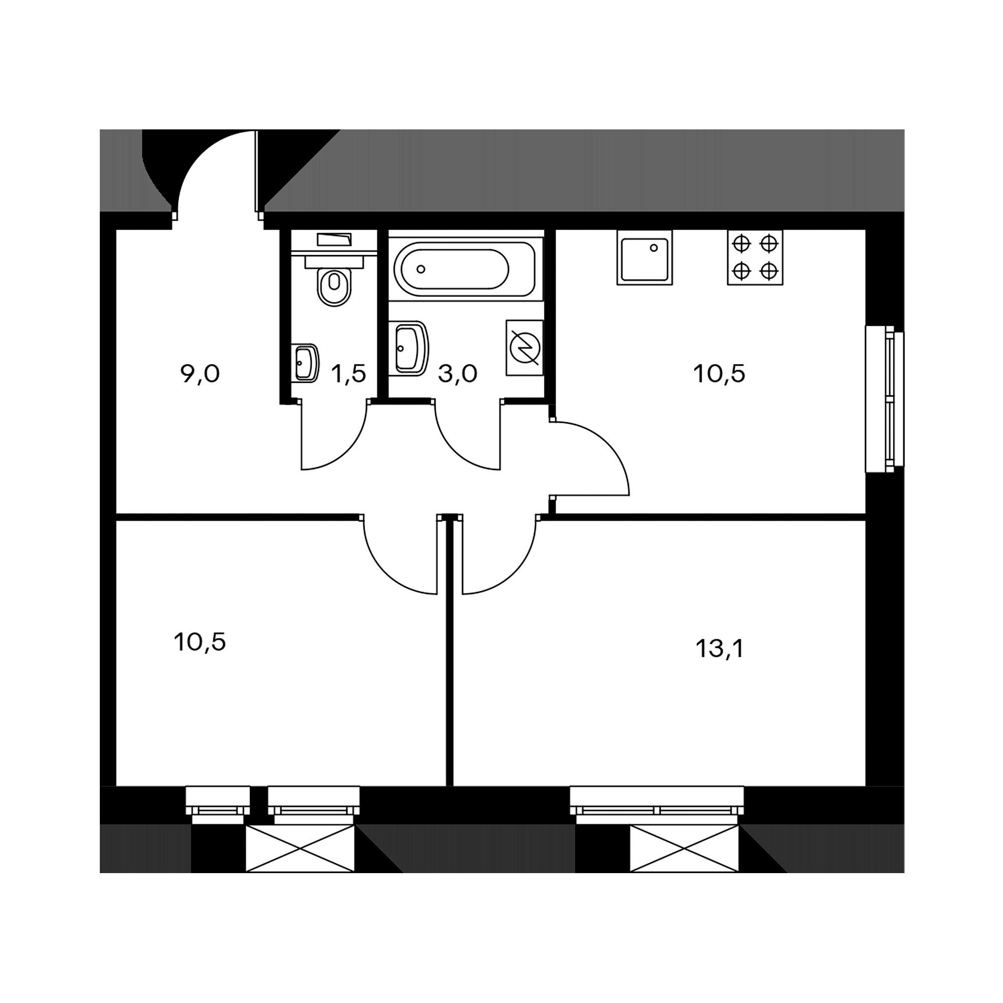 2-комнатная 47.6 м²