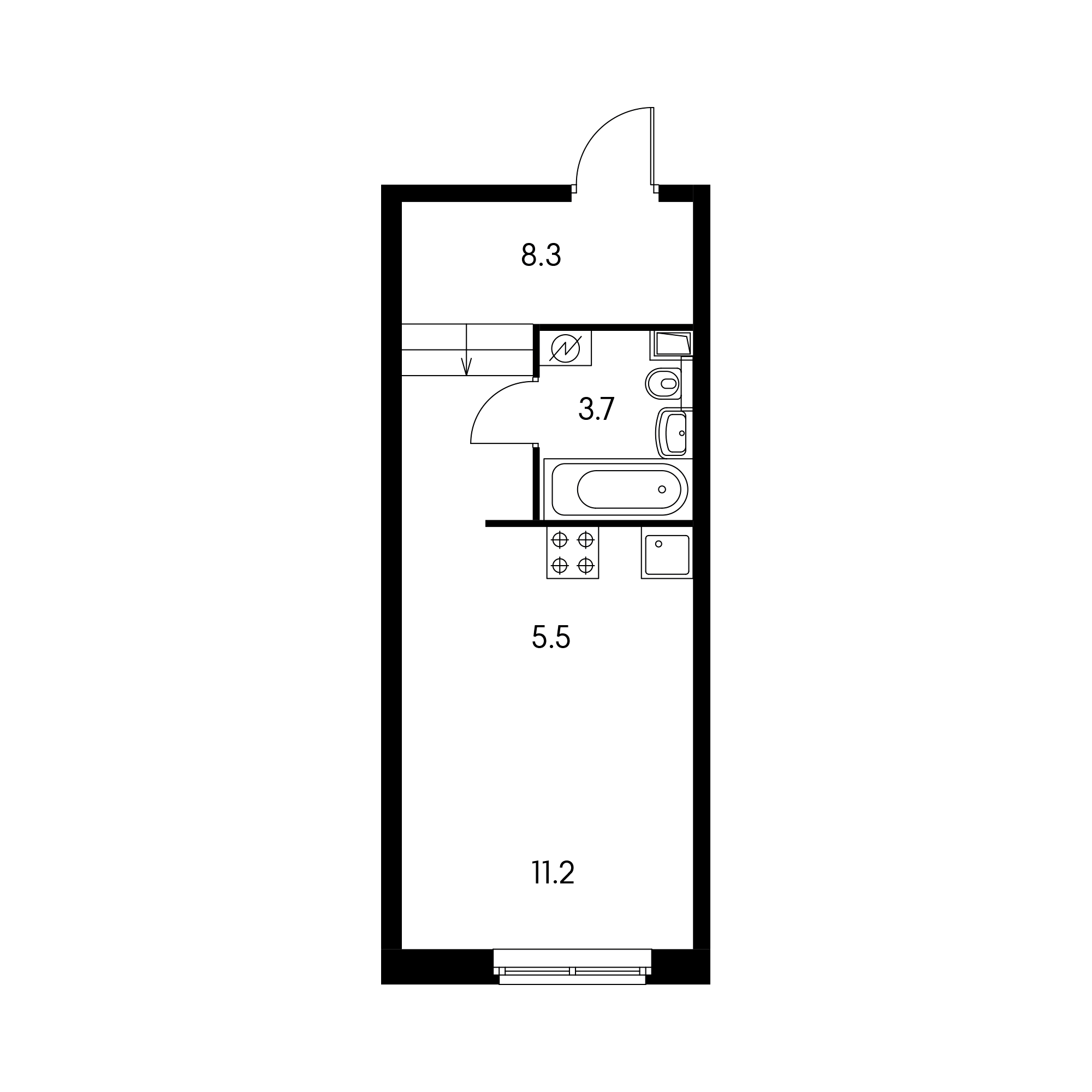 Студия 28.1 м²