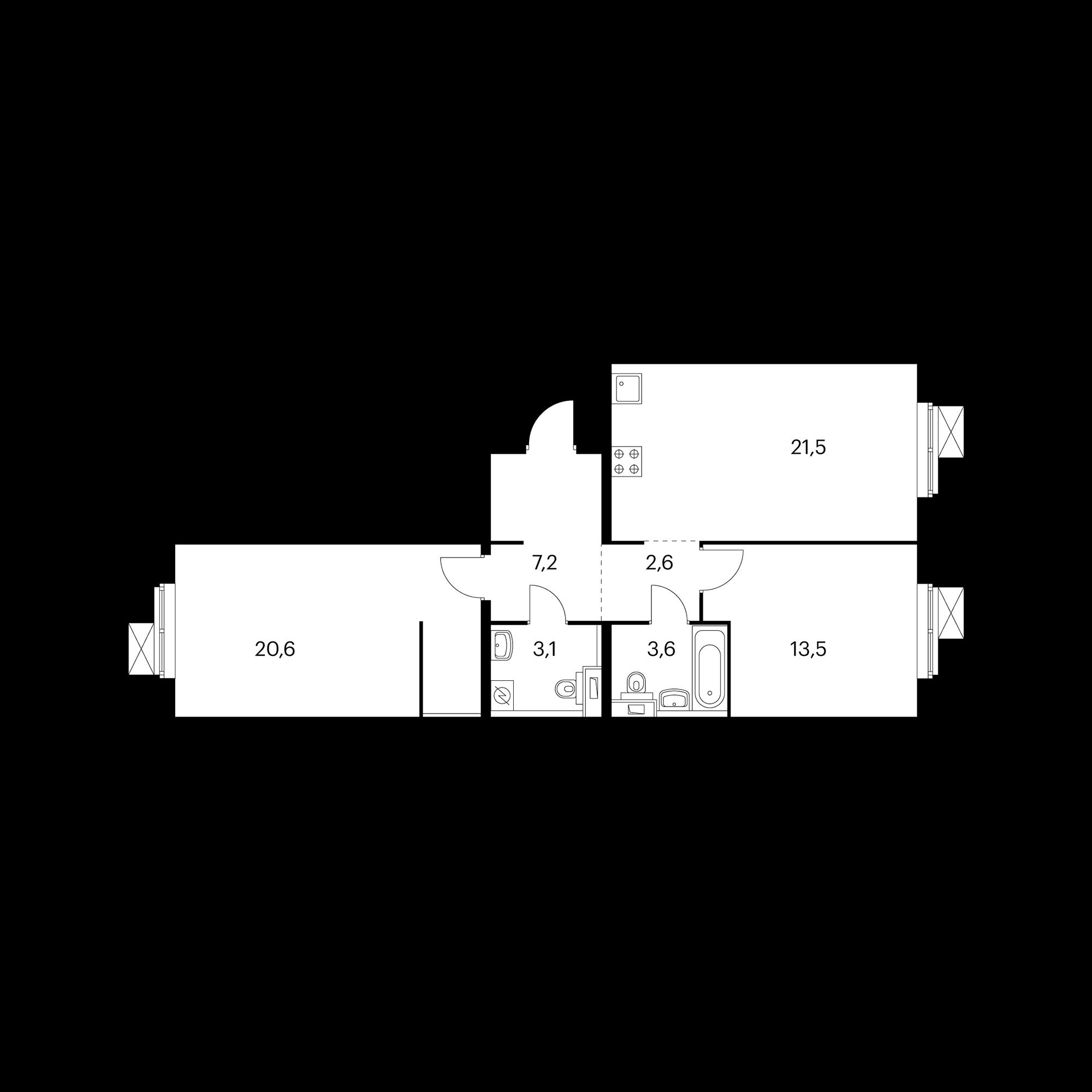 2-комнатная 72.1 м²