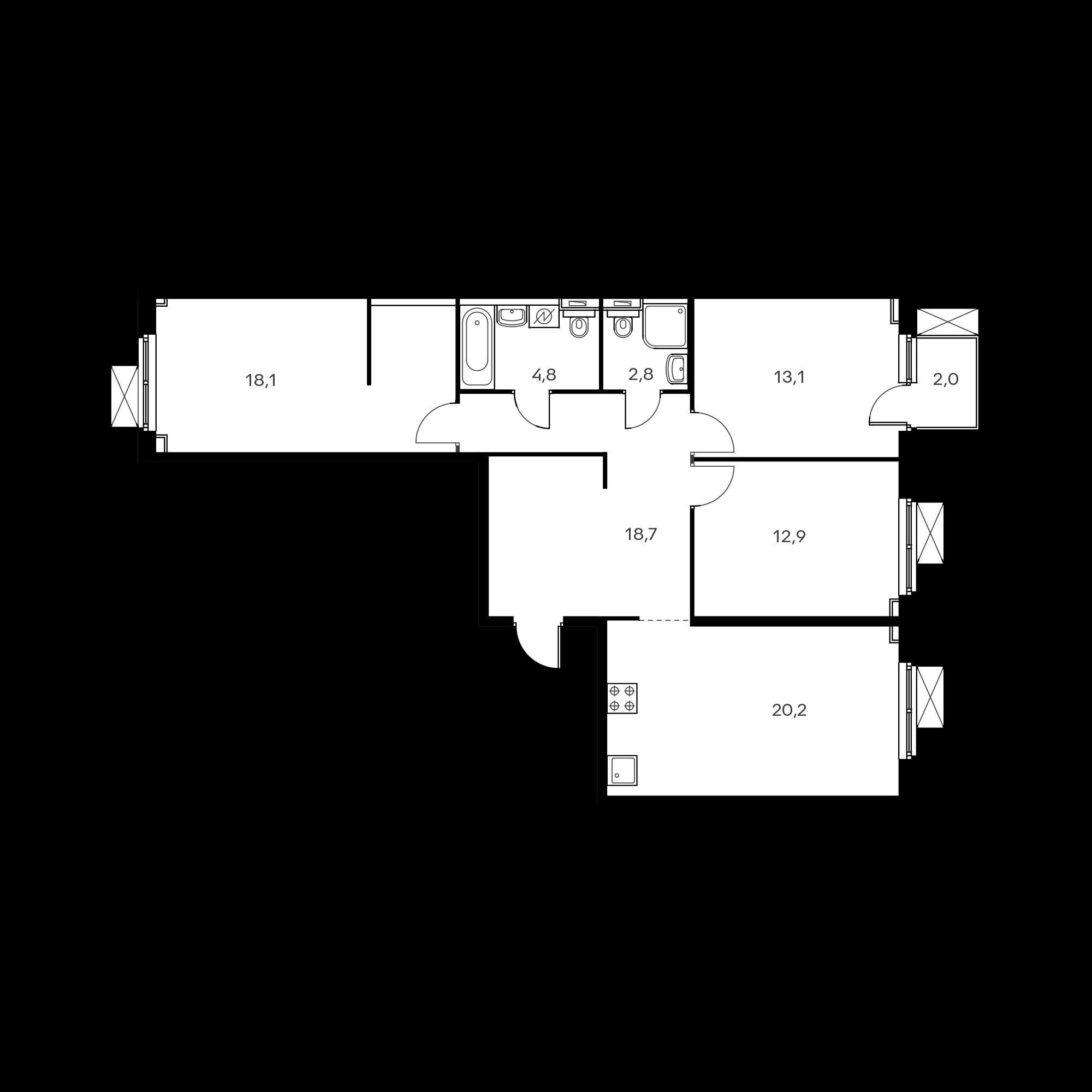 3-комнатная 91.3  м²