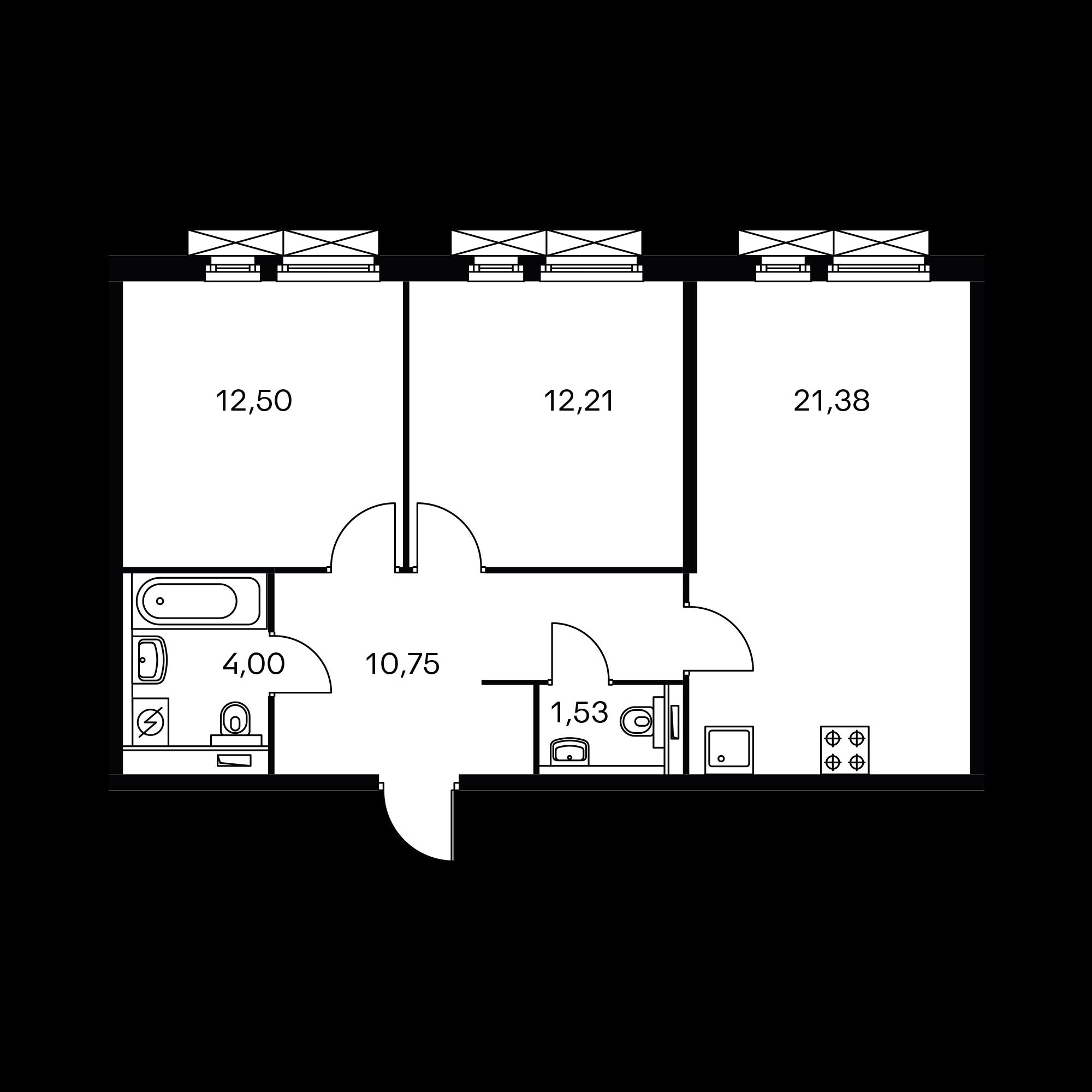 2-комнатная 62.37 м²