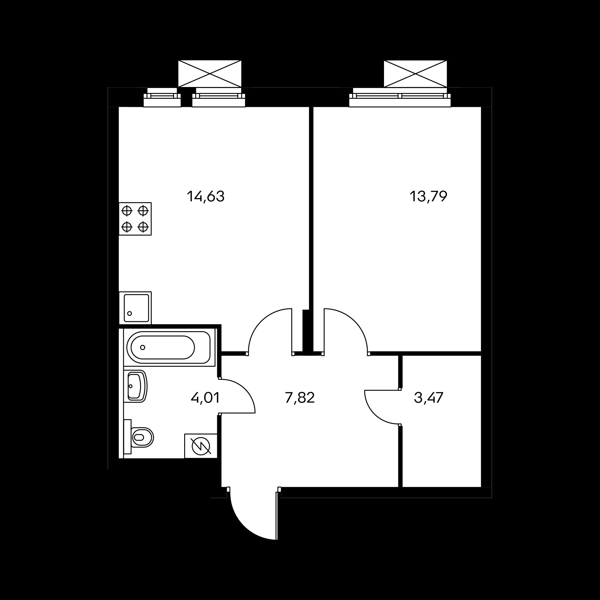 1-комнатная 43.72 м²