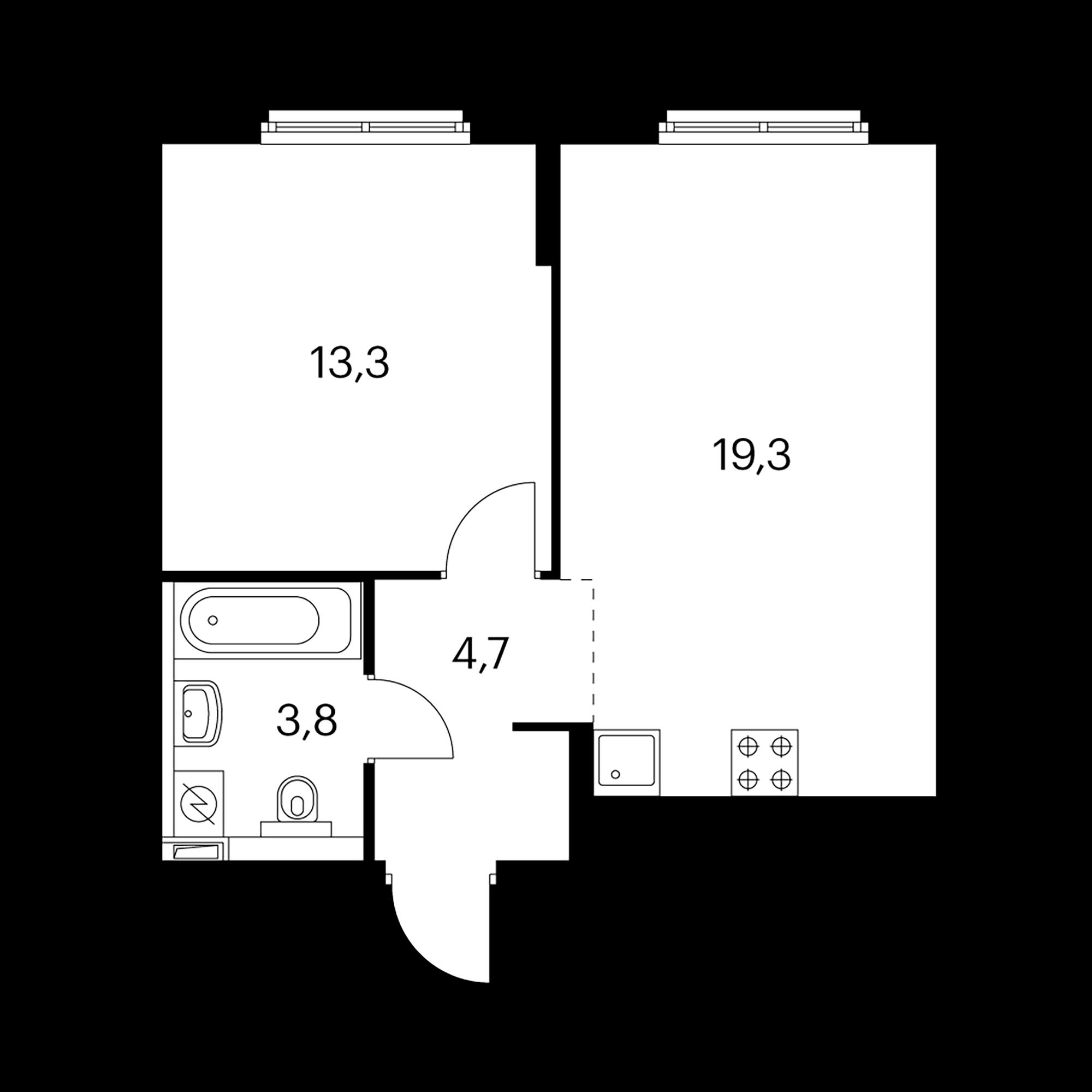 1-комнатная 41.1 м²