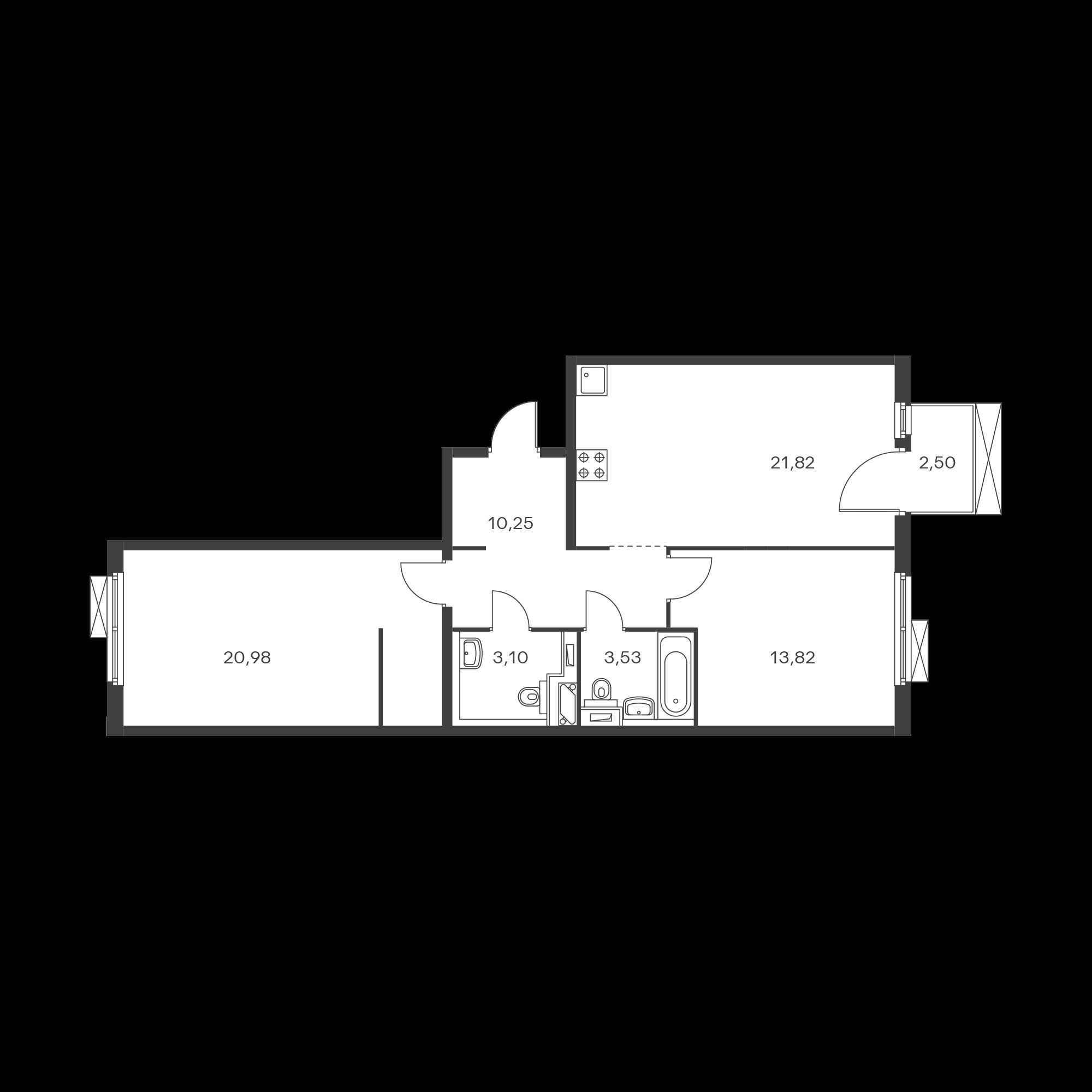 2-комнатная 74.25  м²