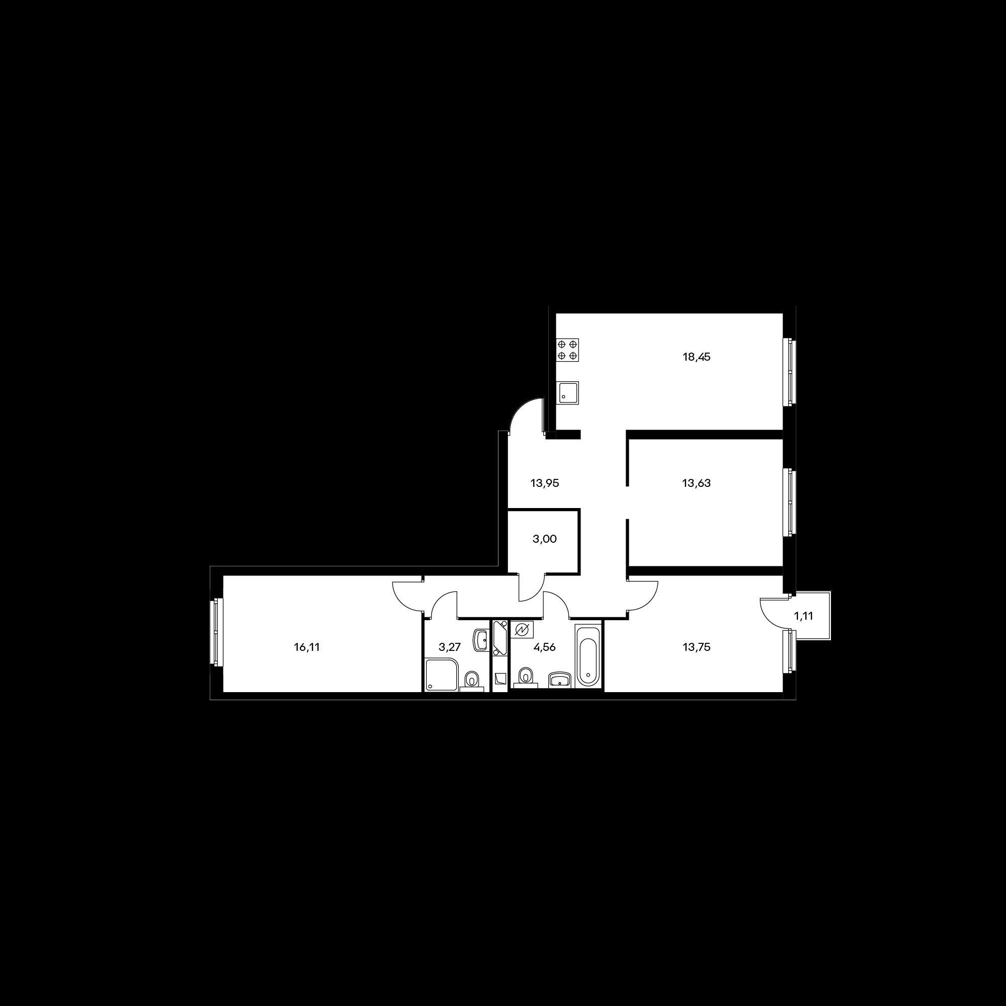 3-комнатная 87.05 м²