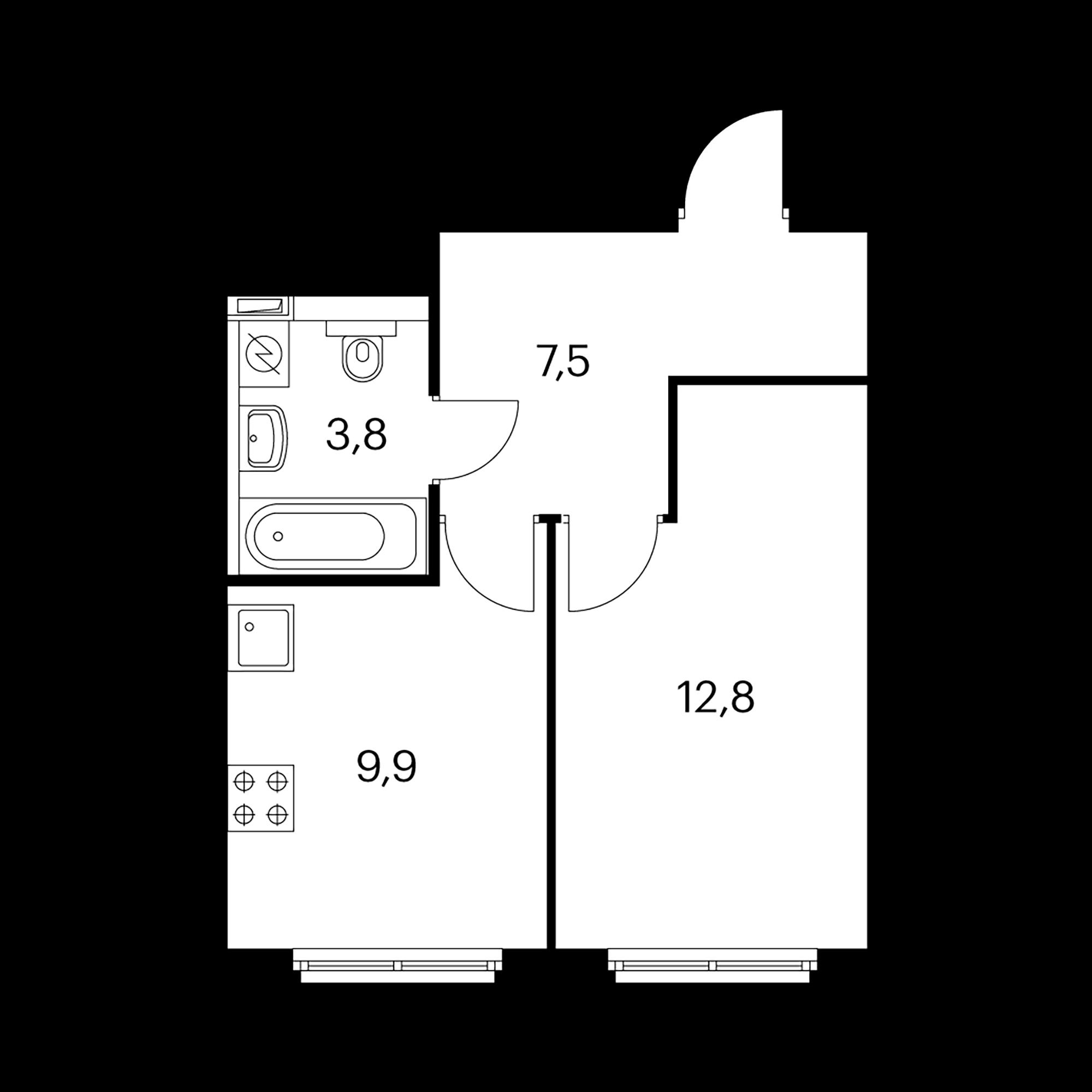 1-комнатная 34 м²