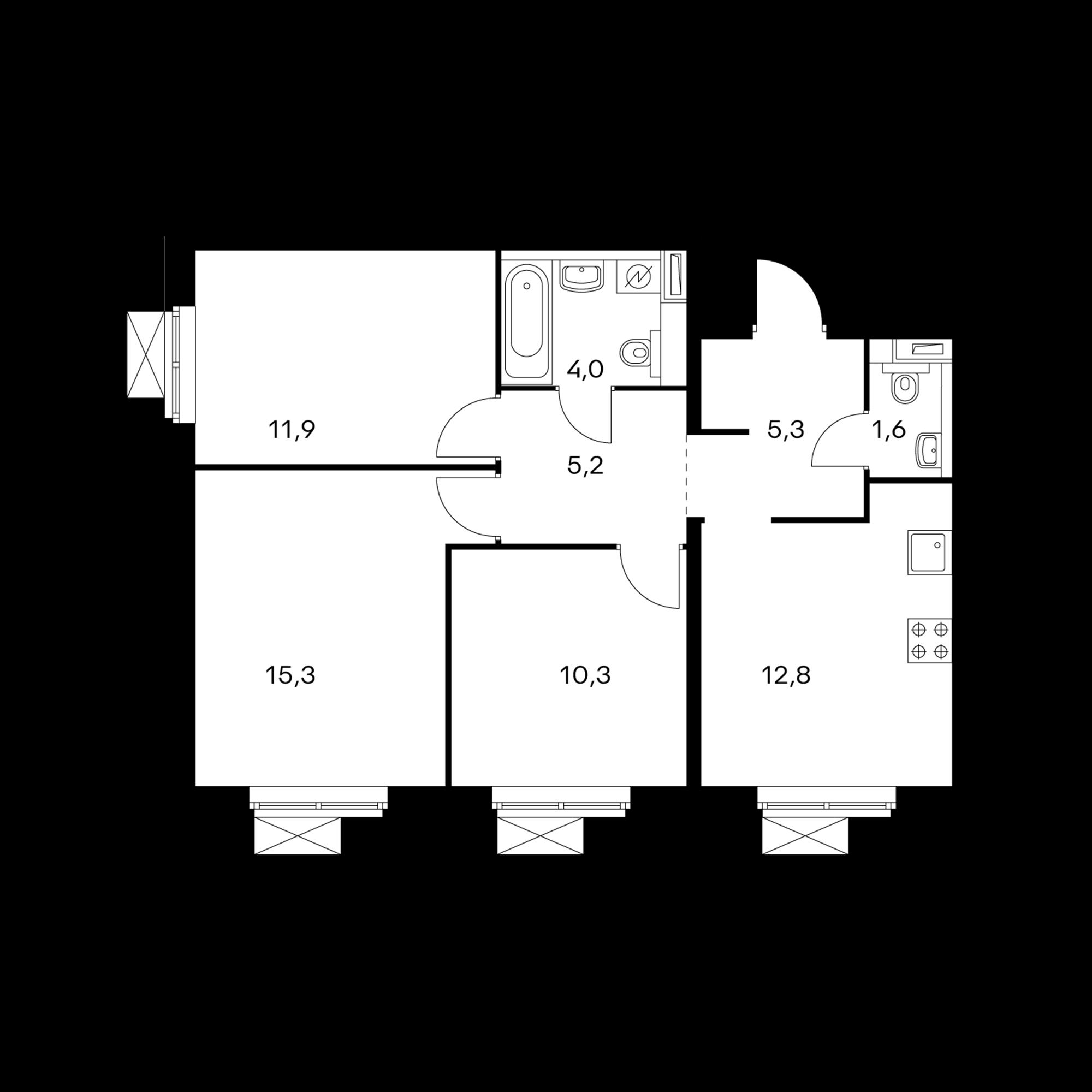3-комнатная 66.4  м²