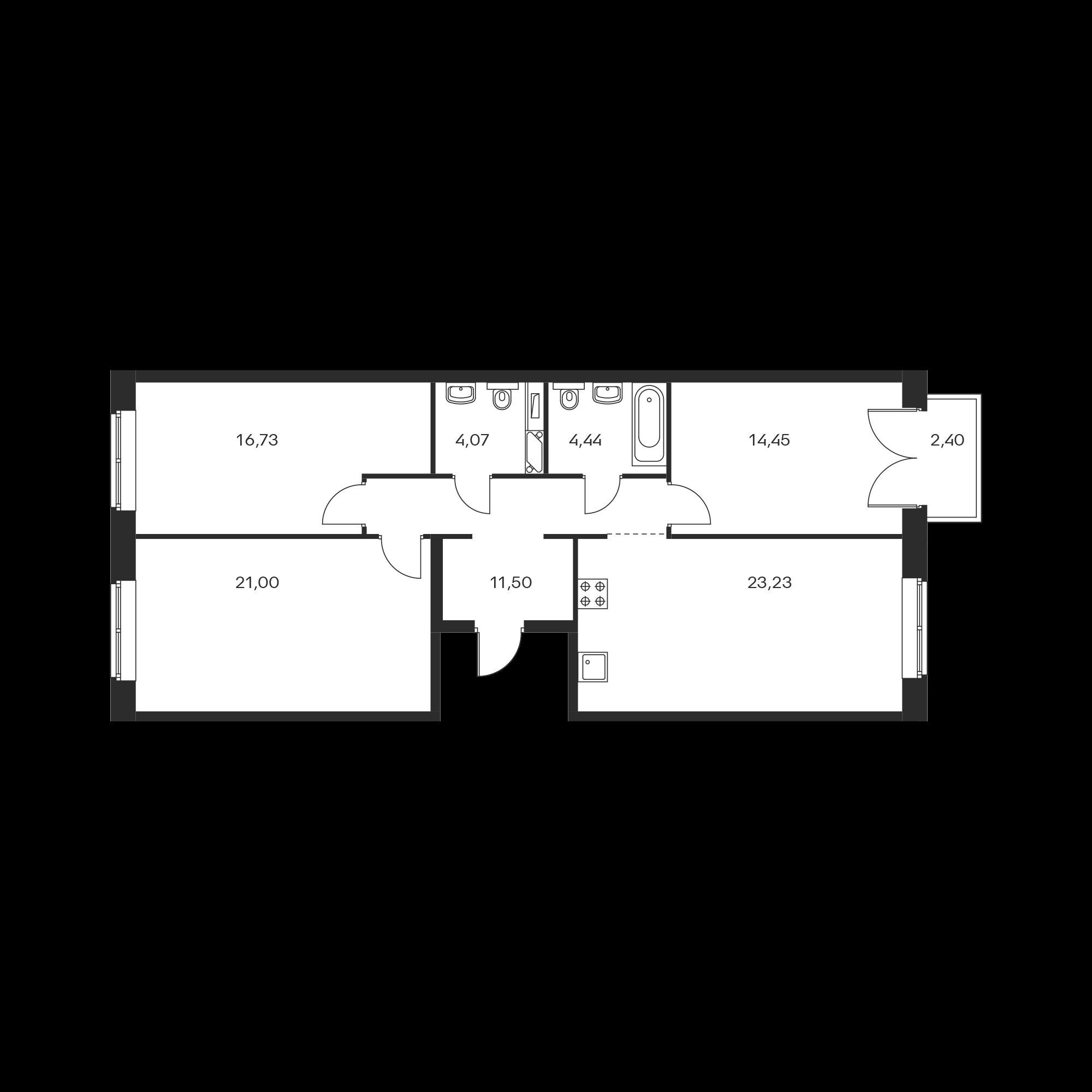 3-комнатная 96.14 м²