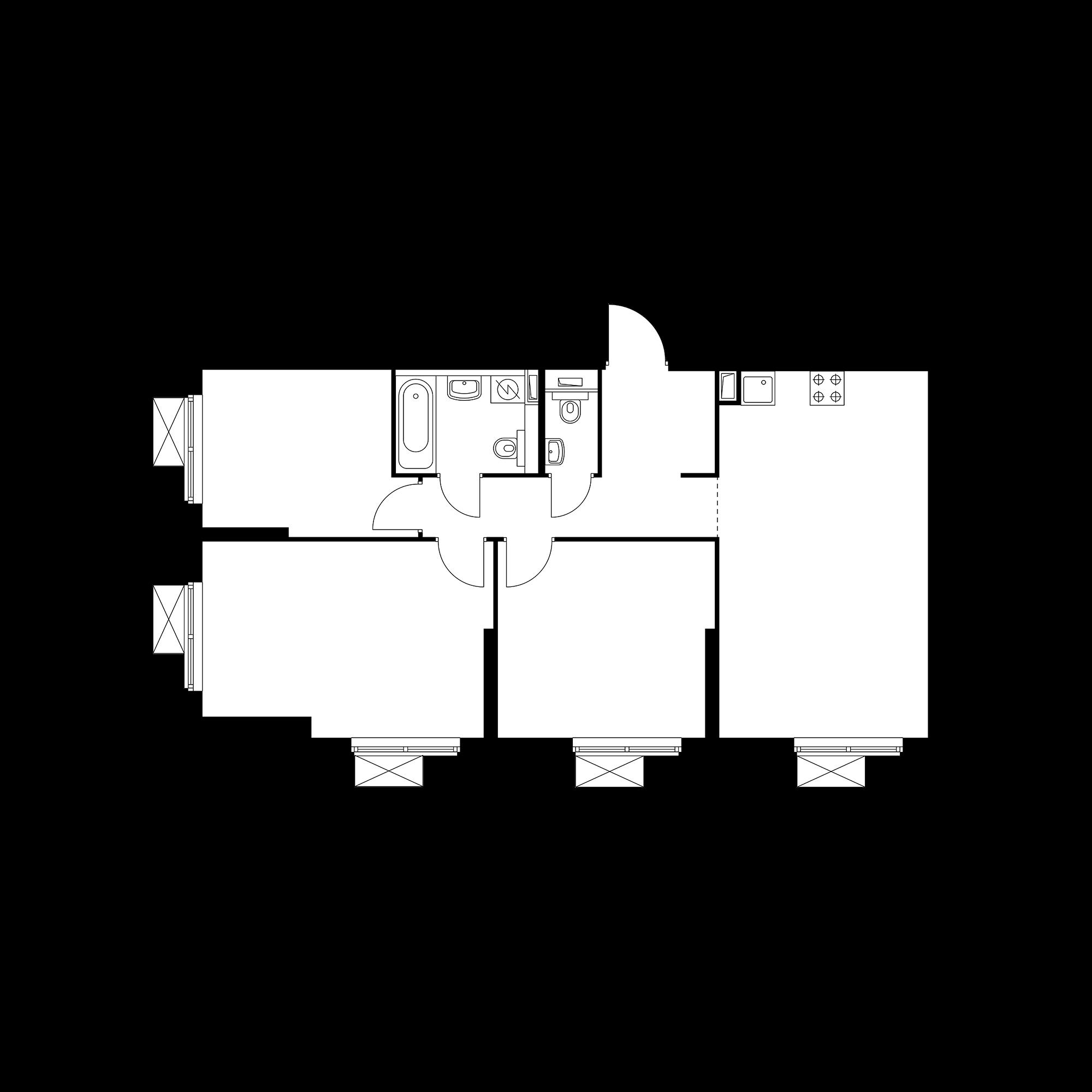 3-комнатная 78.14  м²