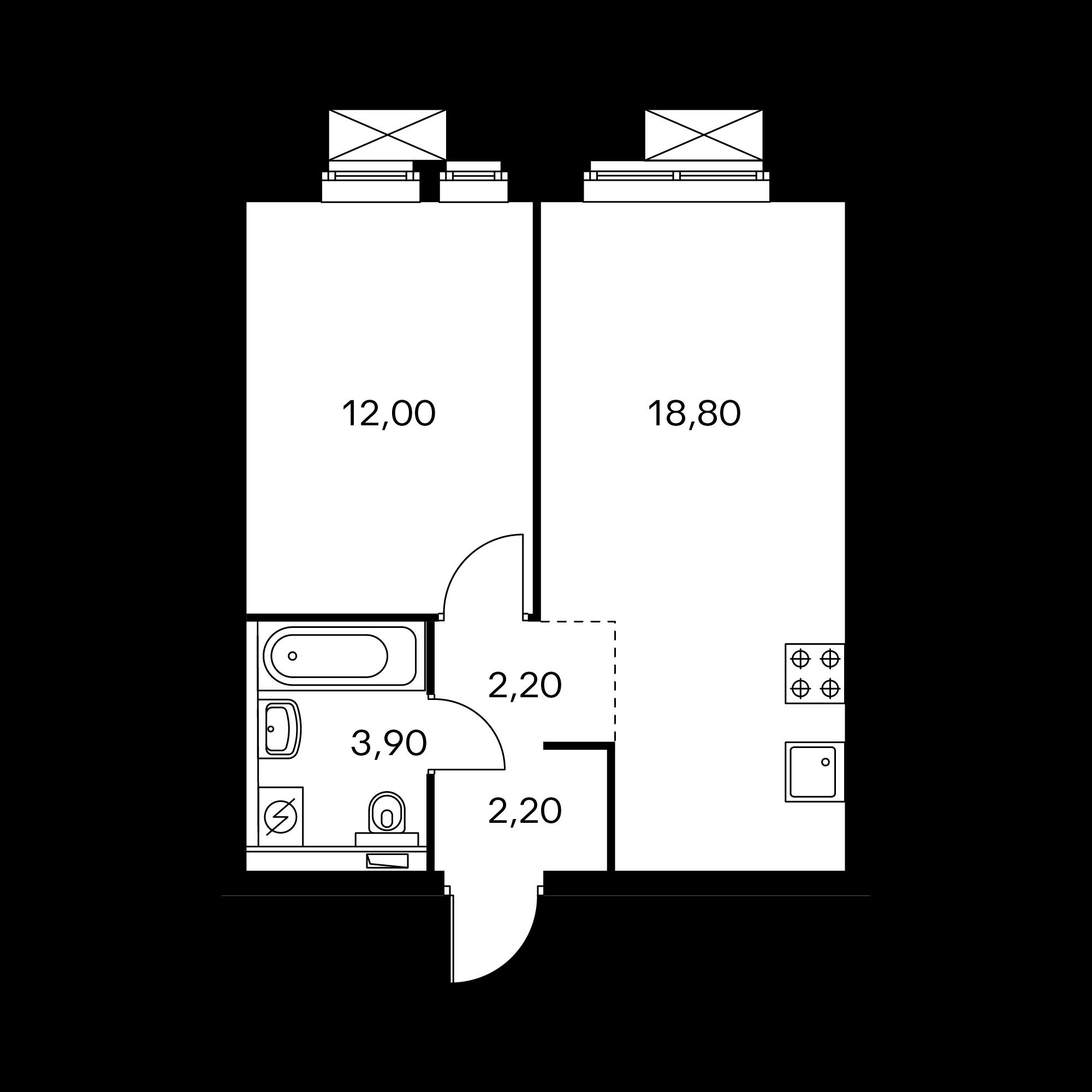 1-комнатная 39.1 м²