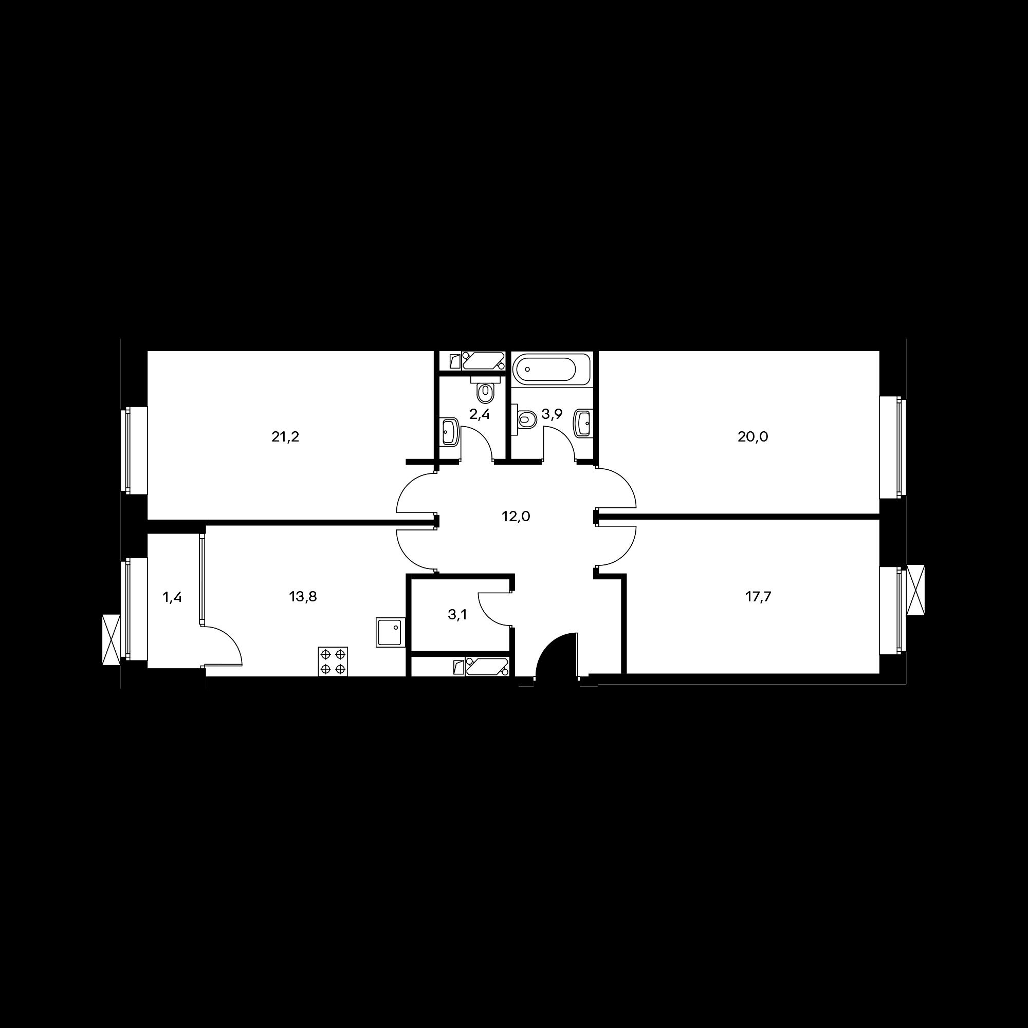 3-комнатная 95.8 м²