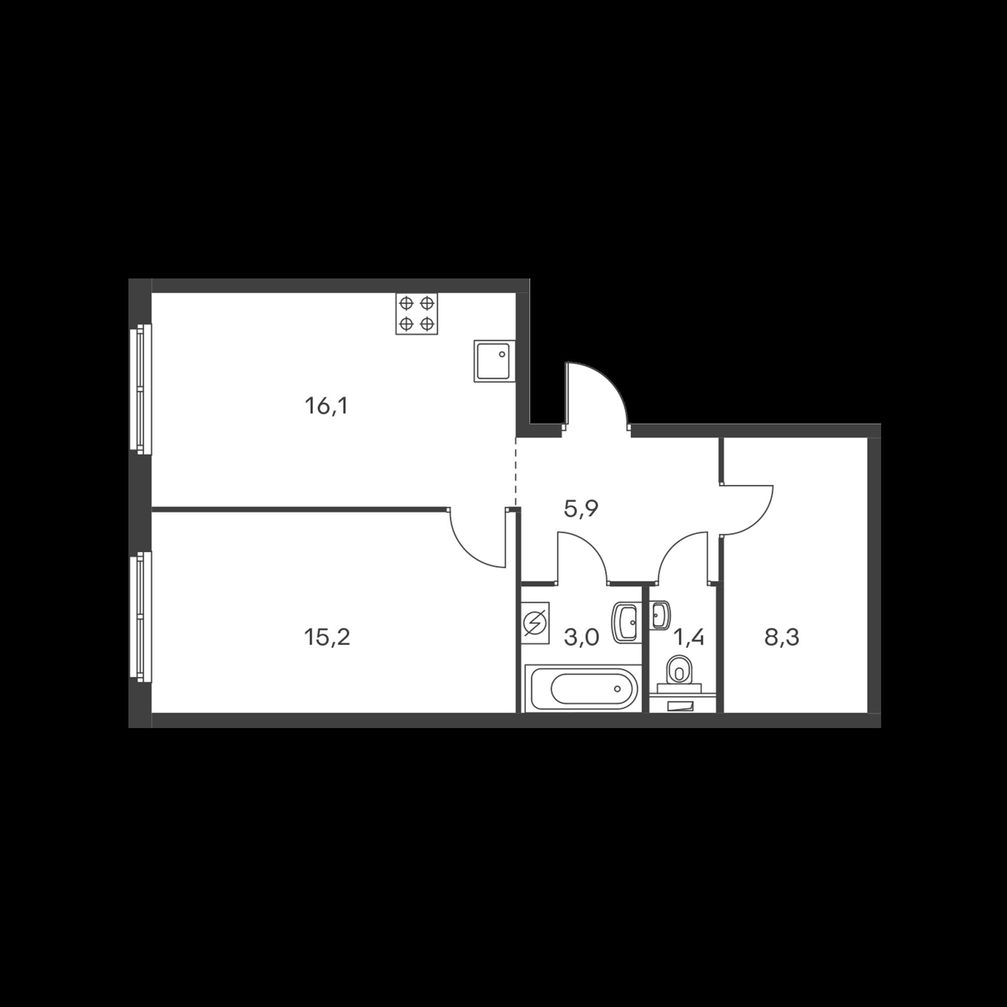 1-комнатная 49.9  м²
