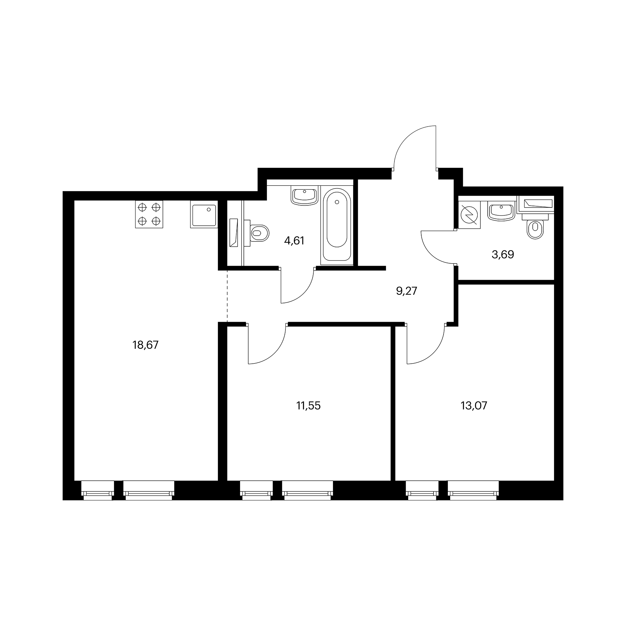 2-комнатная 60.86  м²