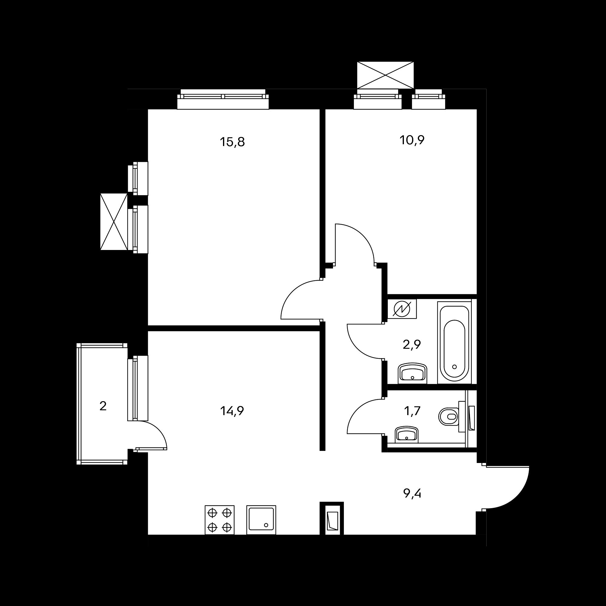 2-комнатная 56.2 м²