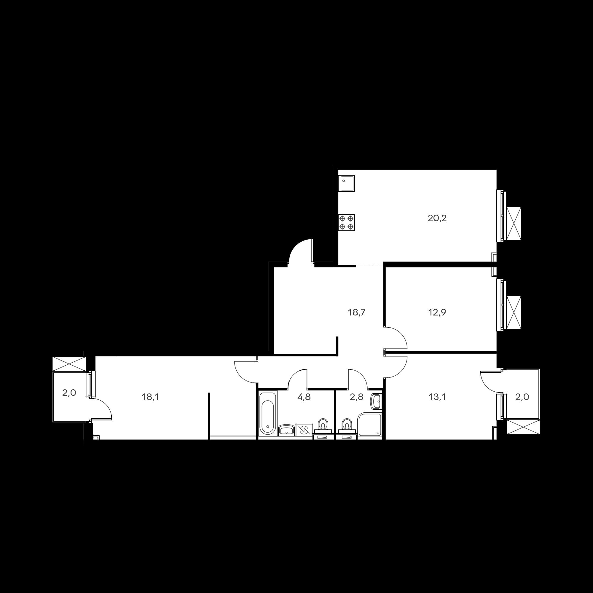 3-комнатная 91.9 м²
