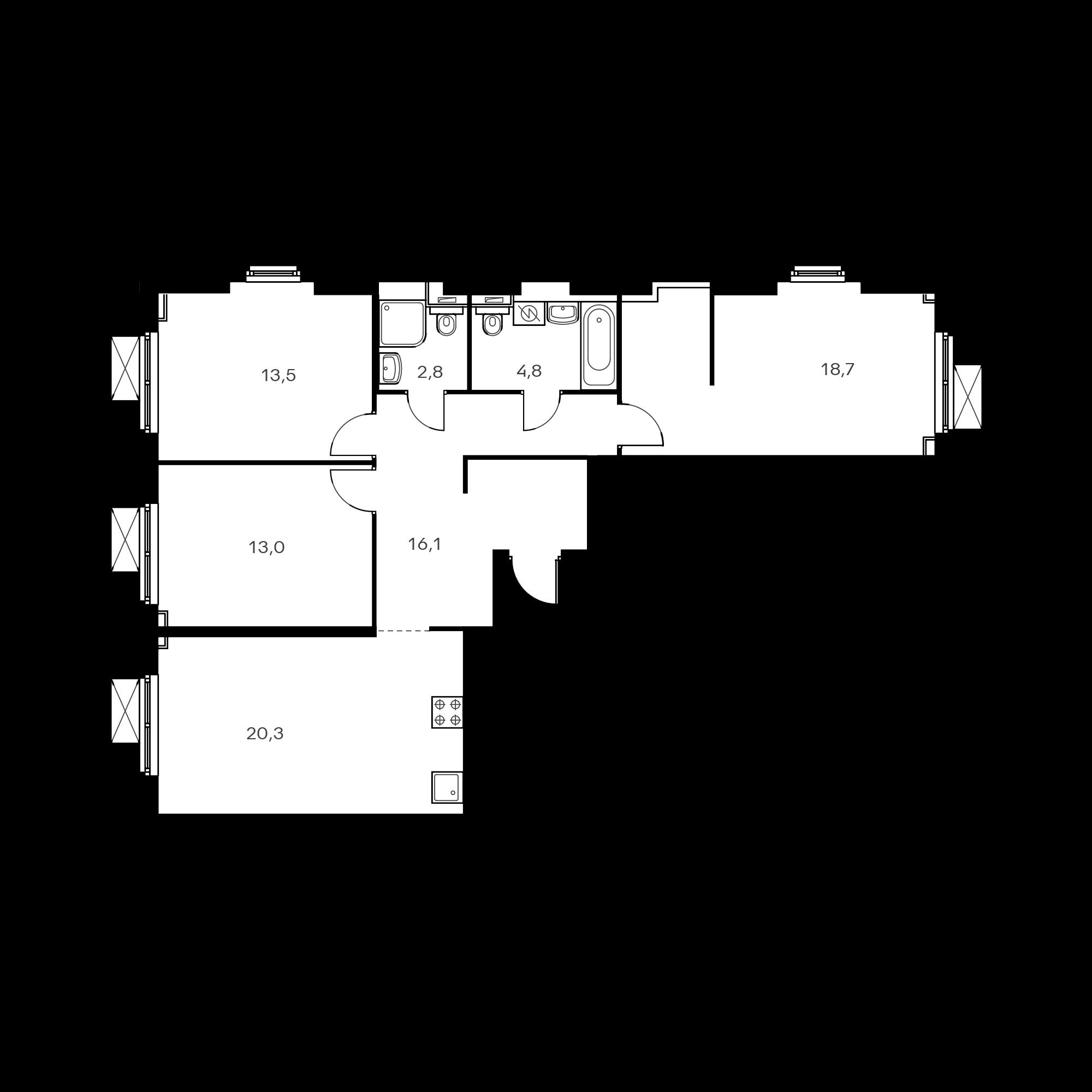 3-комнатная 90.8  м²