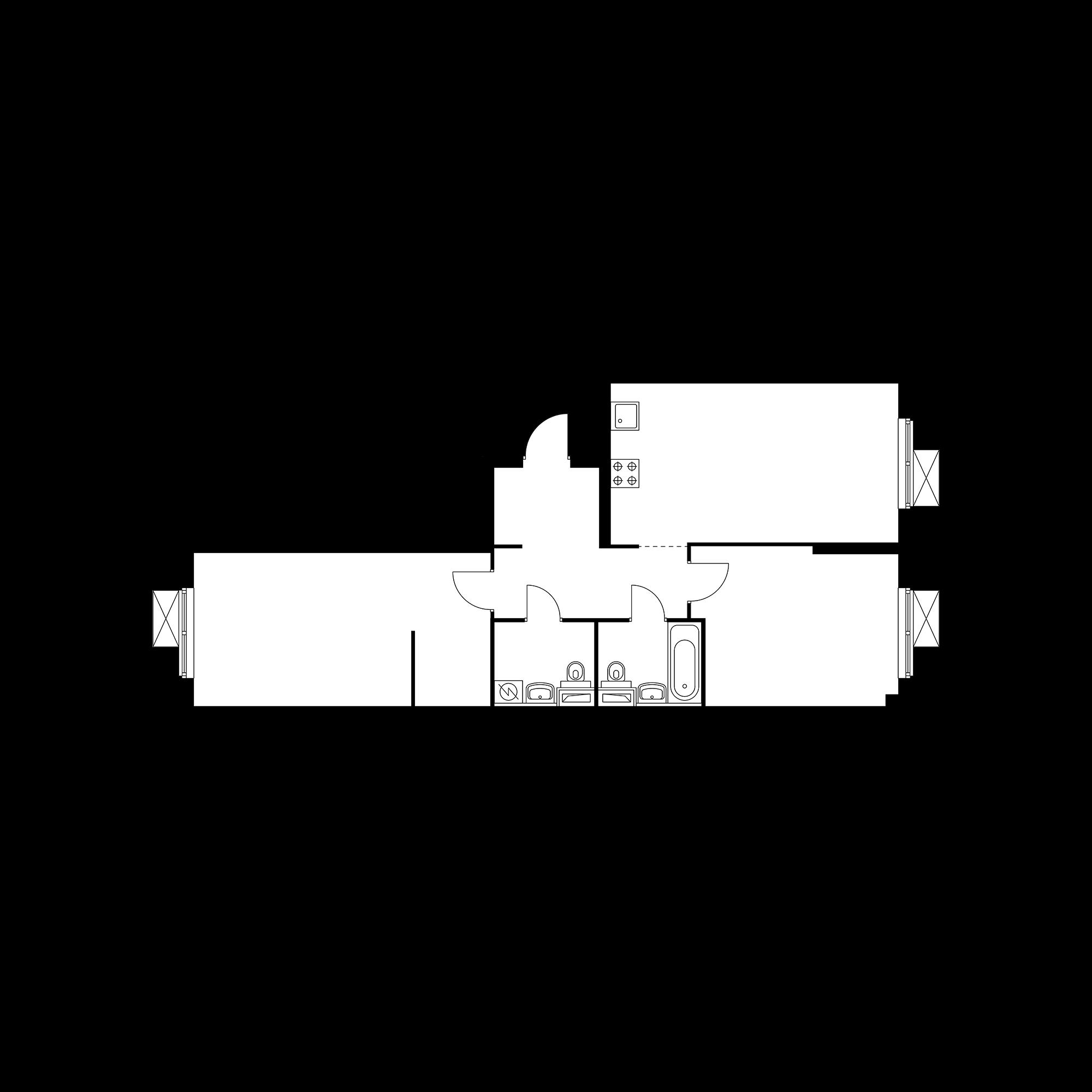 2-комнатная 72.14 м²