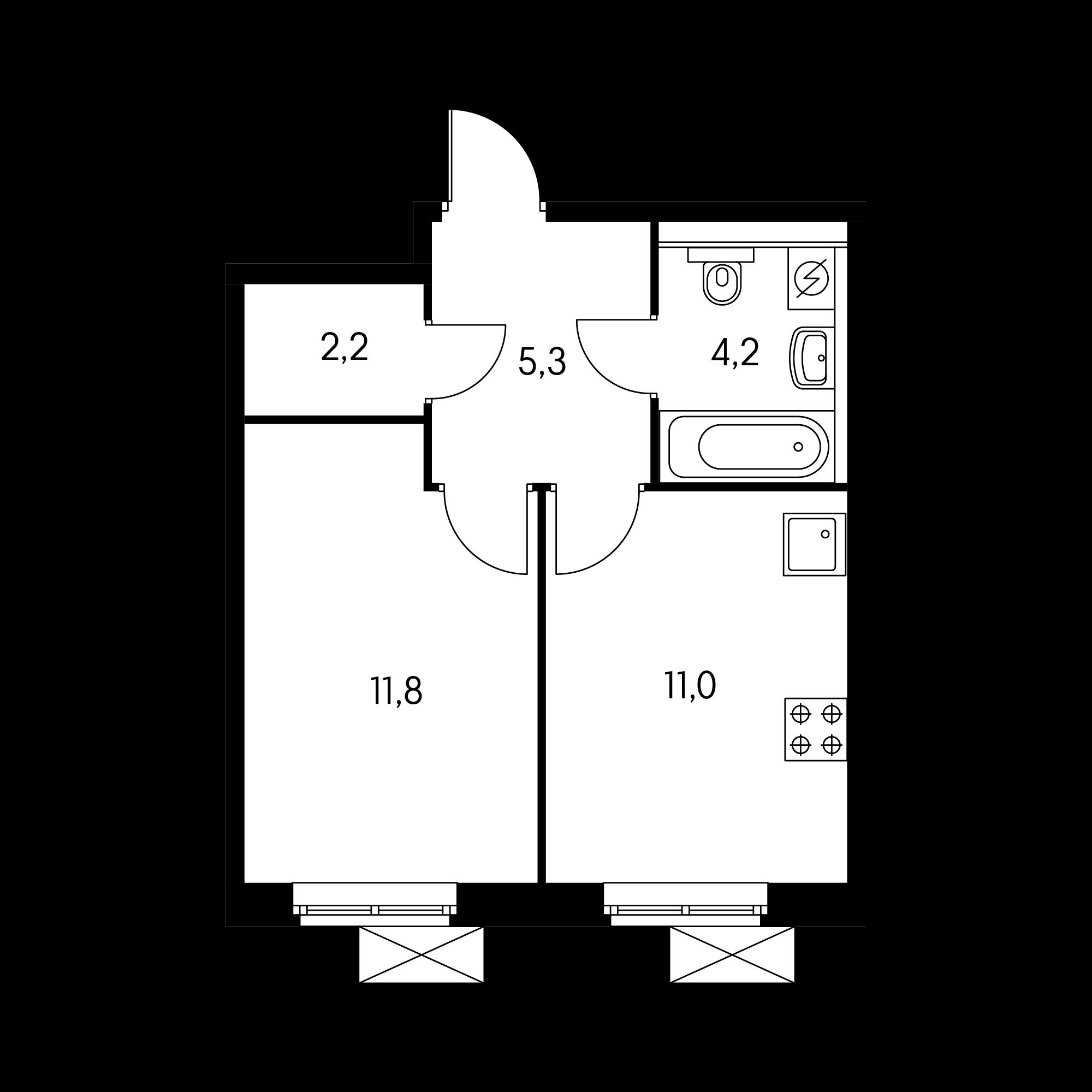 1-комнатная 34.1  м²