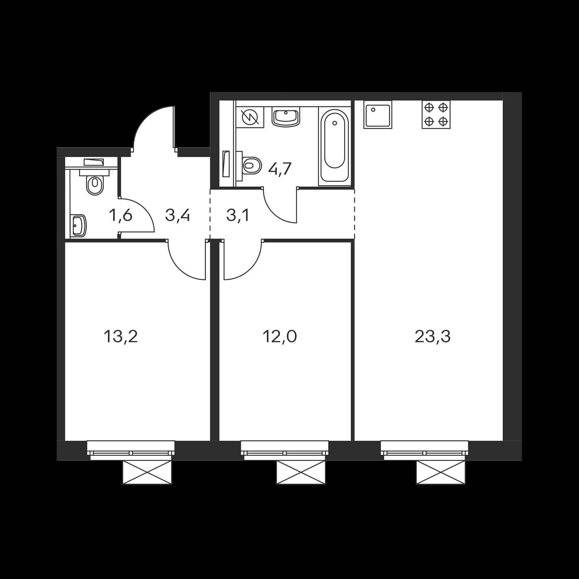 2-комнатная 61.3 м²