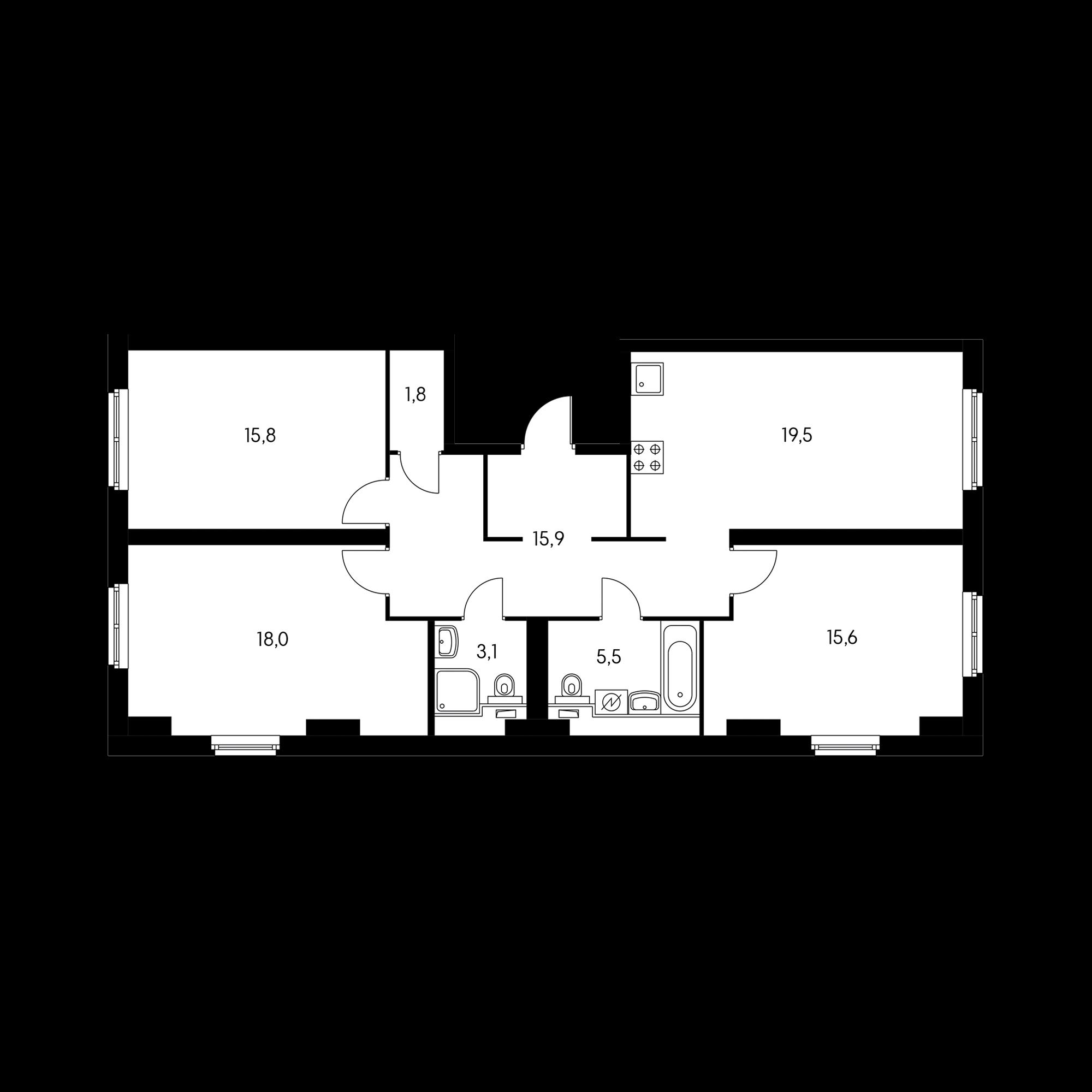 3-комнатная 95.2  м²