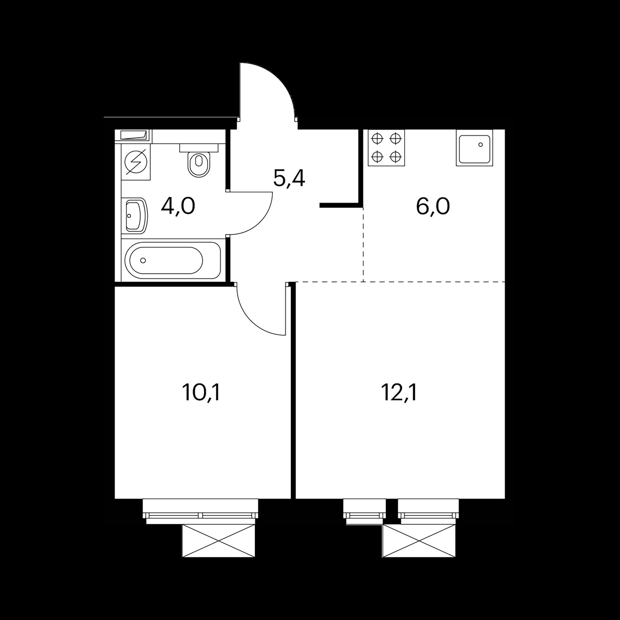 2-комнатная 37.6 м²