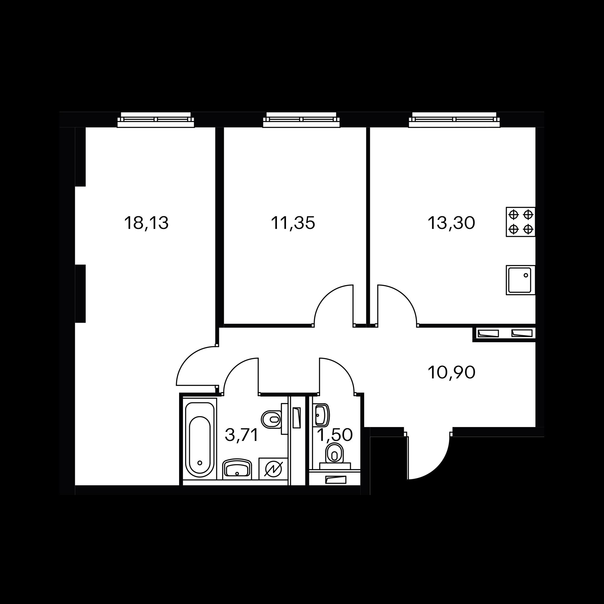 2-комнатная 58.89 м²
