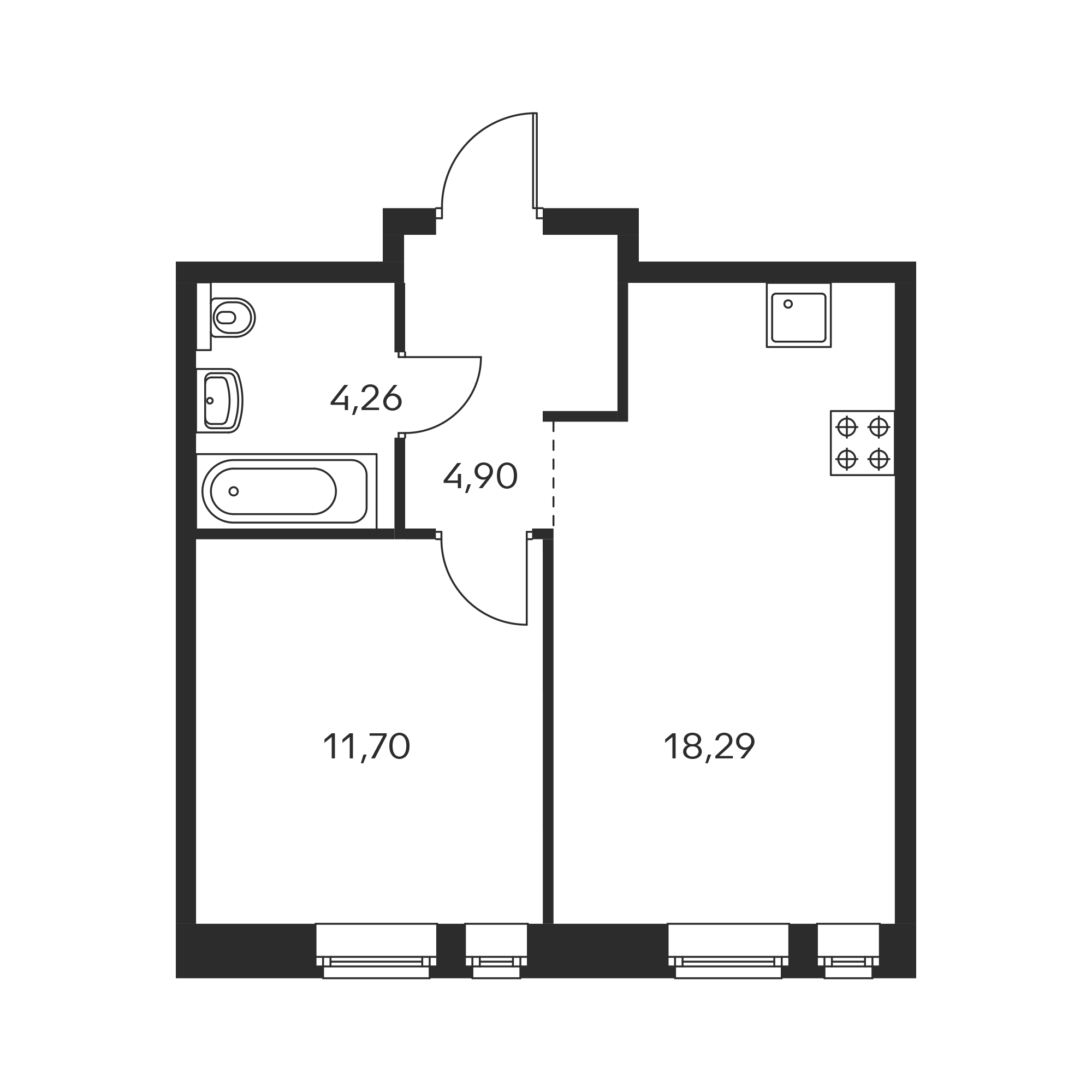1-комнатная 39.15  м²