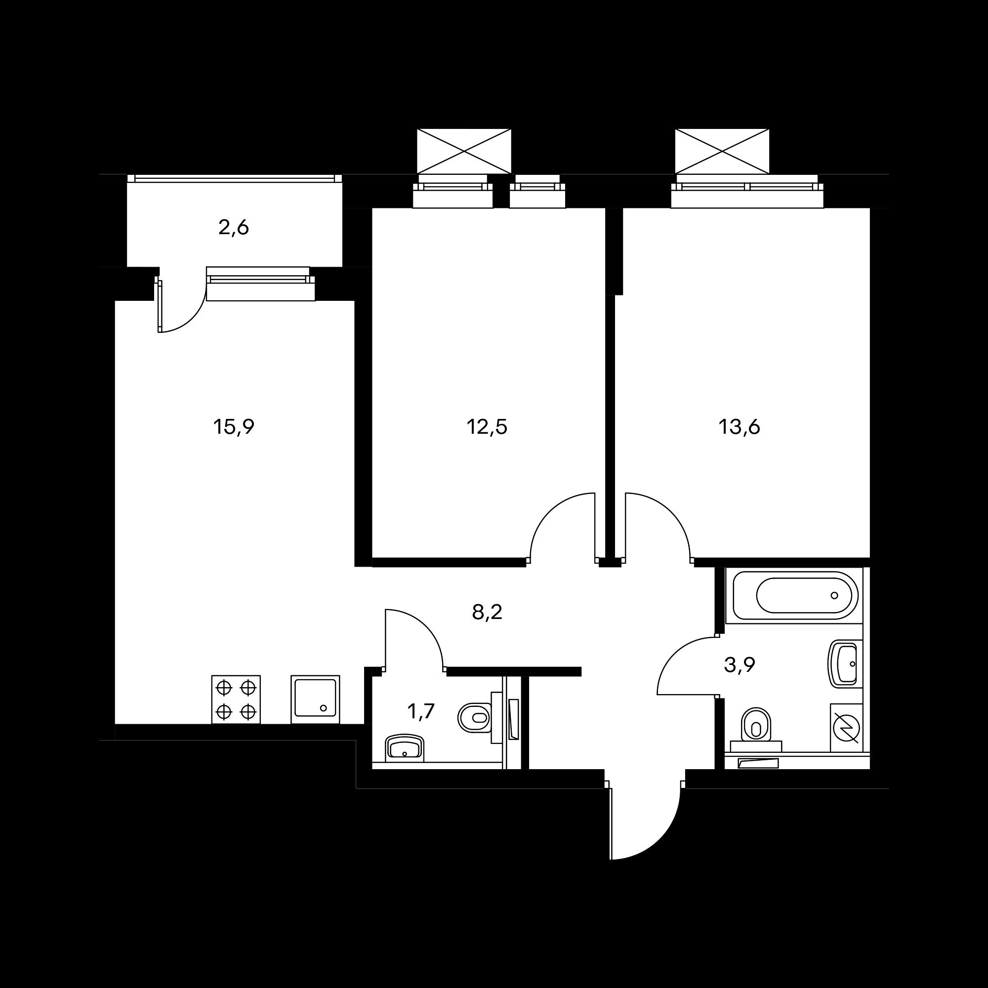 2-комнатная 56.8 м²