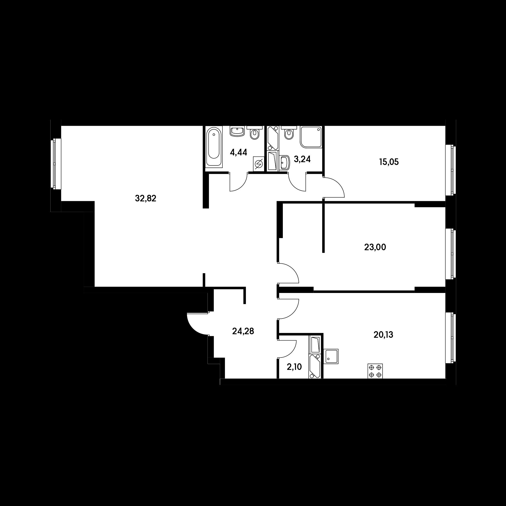 3-комнатная 125.06 м²