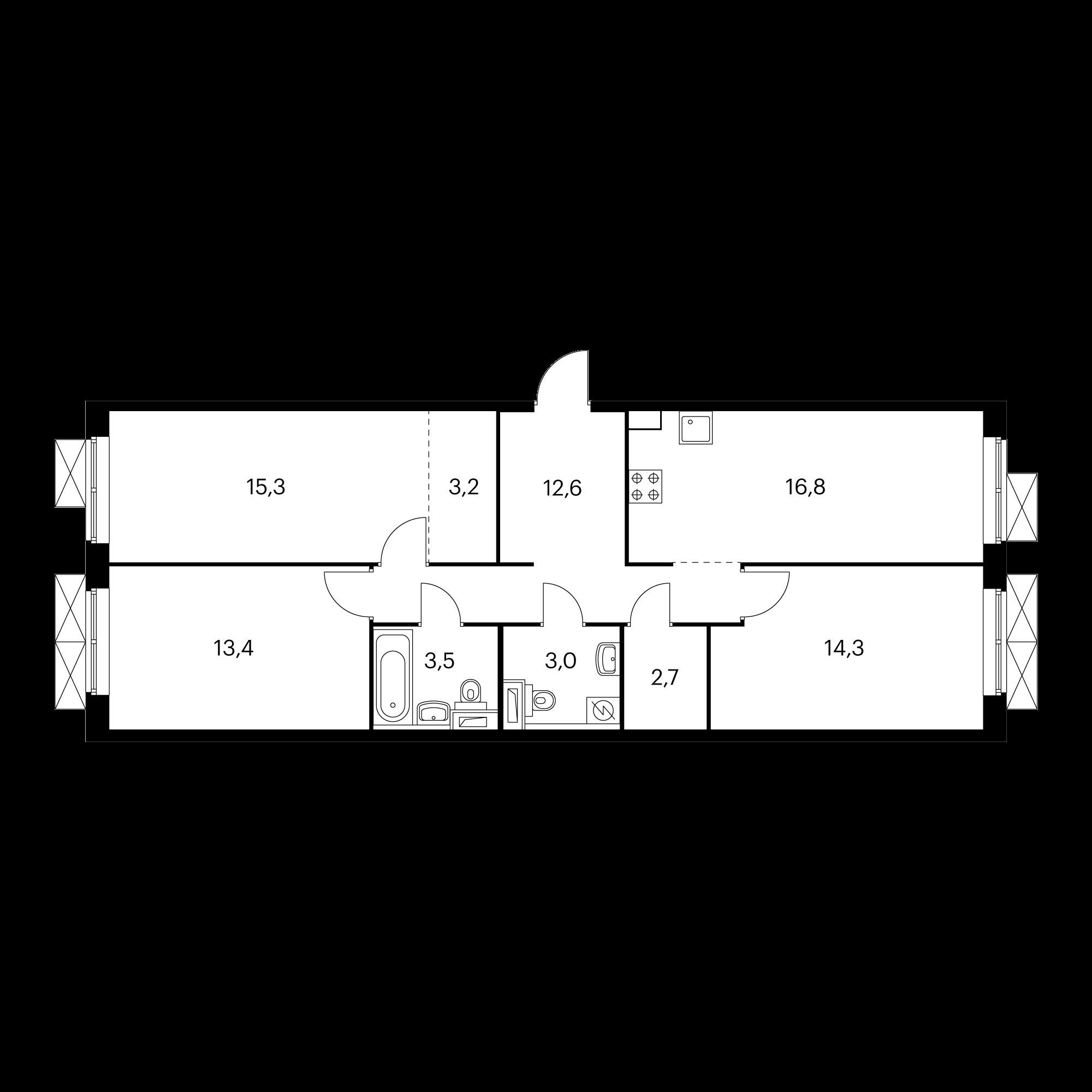 3-комнатная 84.8 м²