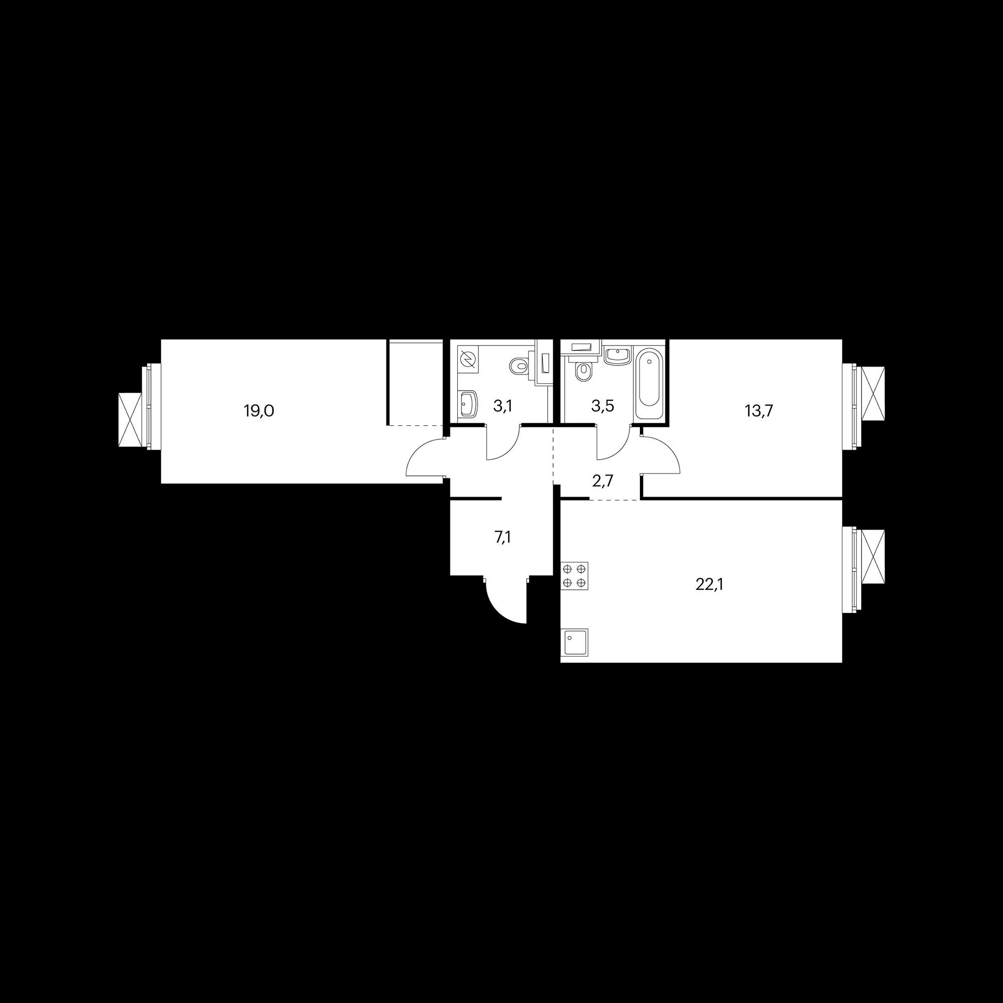 2-комнатная 70.9 м²