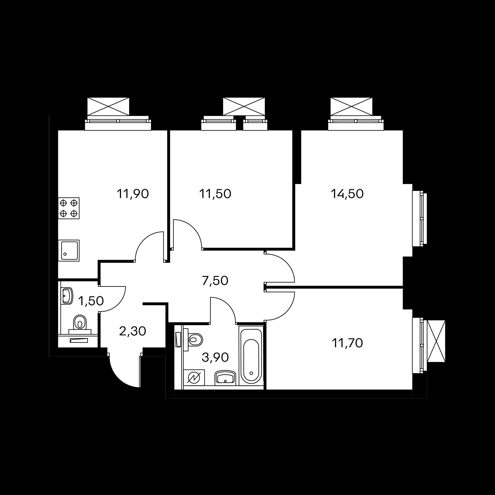 3-комнатная 64.9  м²