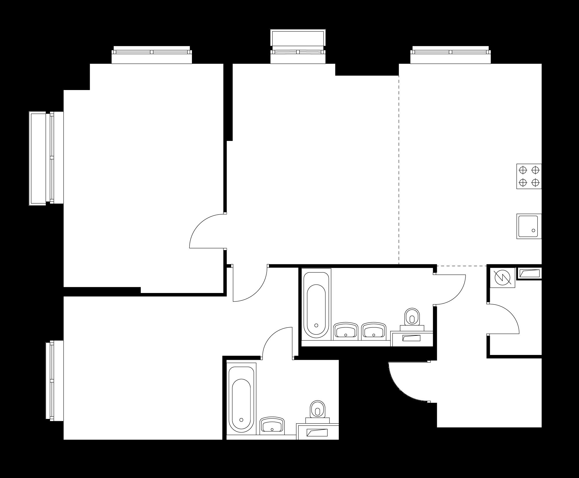 3-комнатная 88.5 м²