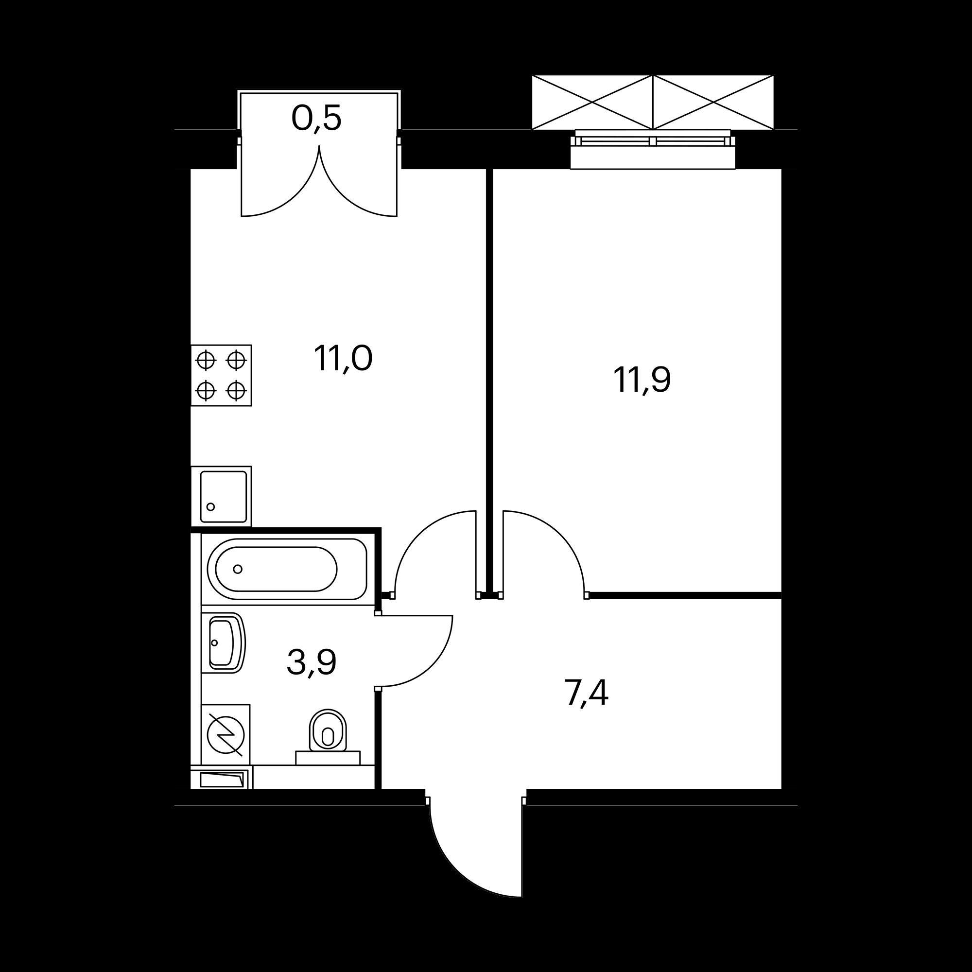 1-комнатная 34.4  м²